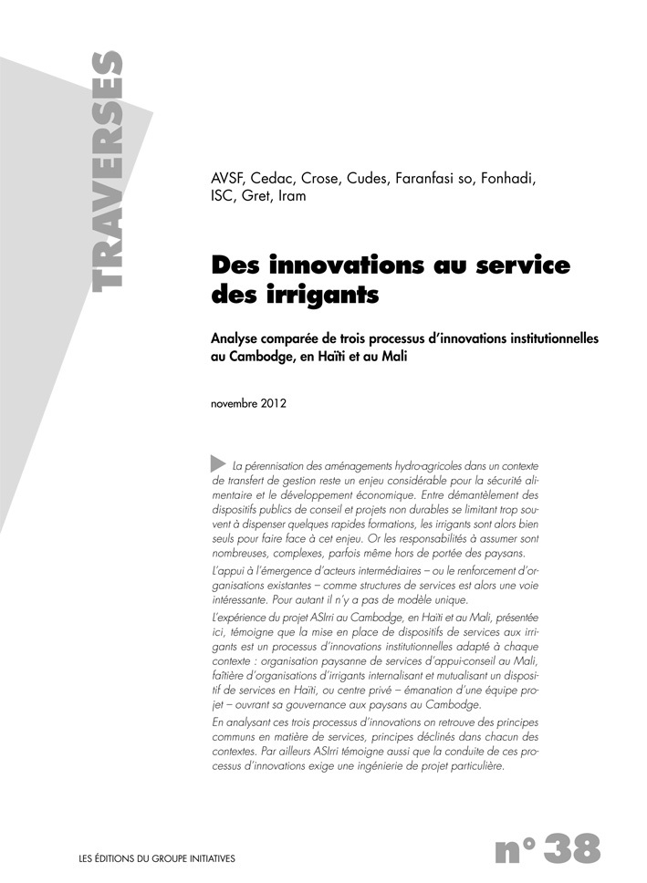 Thumbnail - Des innovations au service des irrigants : Analyse comparée de trois processus d'innovations institutionnelles au Cambodge, en Haïti et au Mali