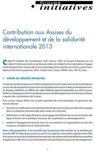 Contribution du Groupes Initiatives aux Assises de la Solidarité et du Développement 2013 Image principale