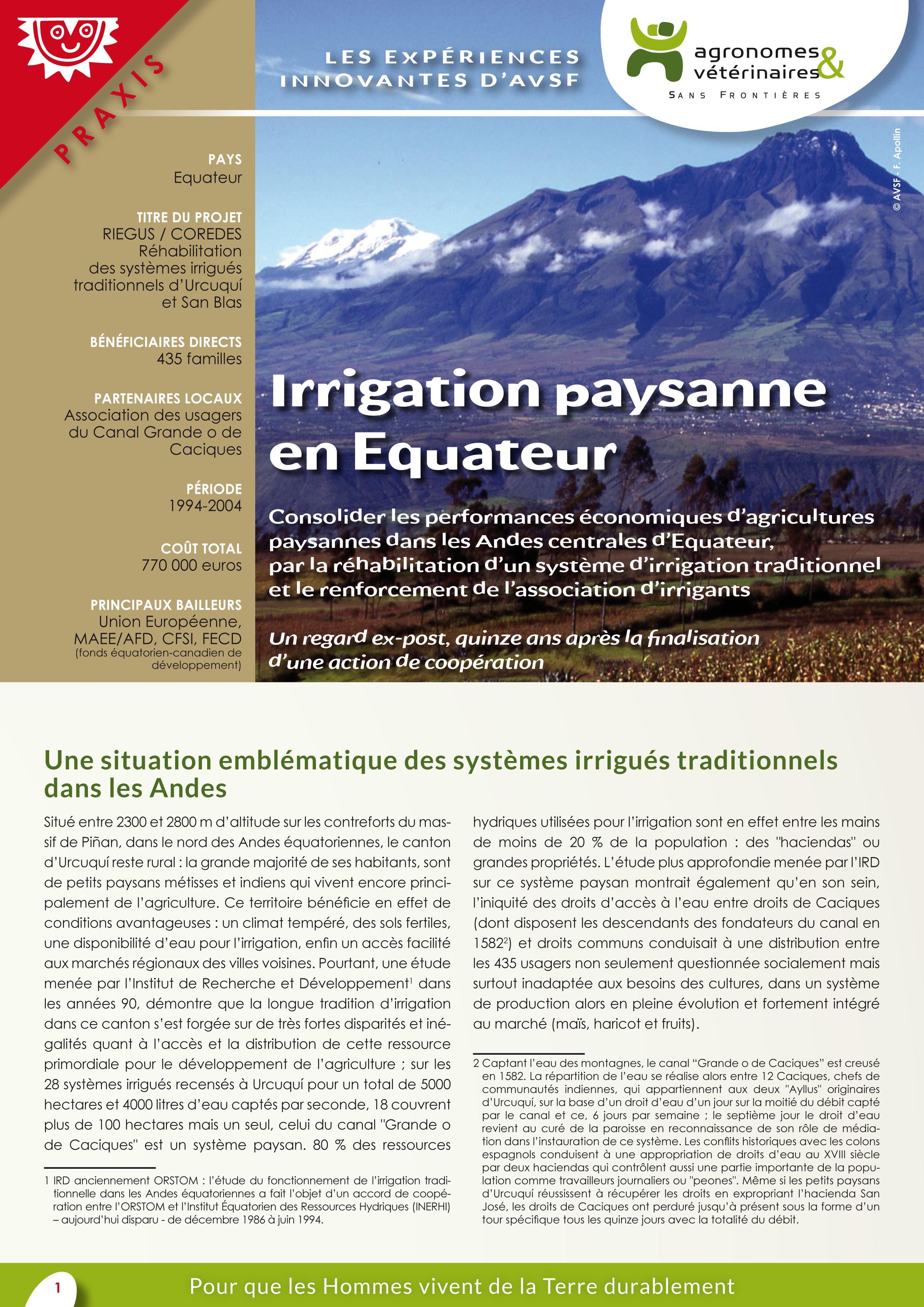 Les expériences innovantes d'AVSF : Irrigation paysanne en Equateur Image principale