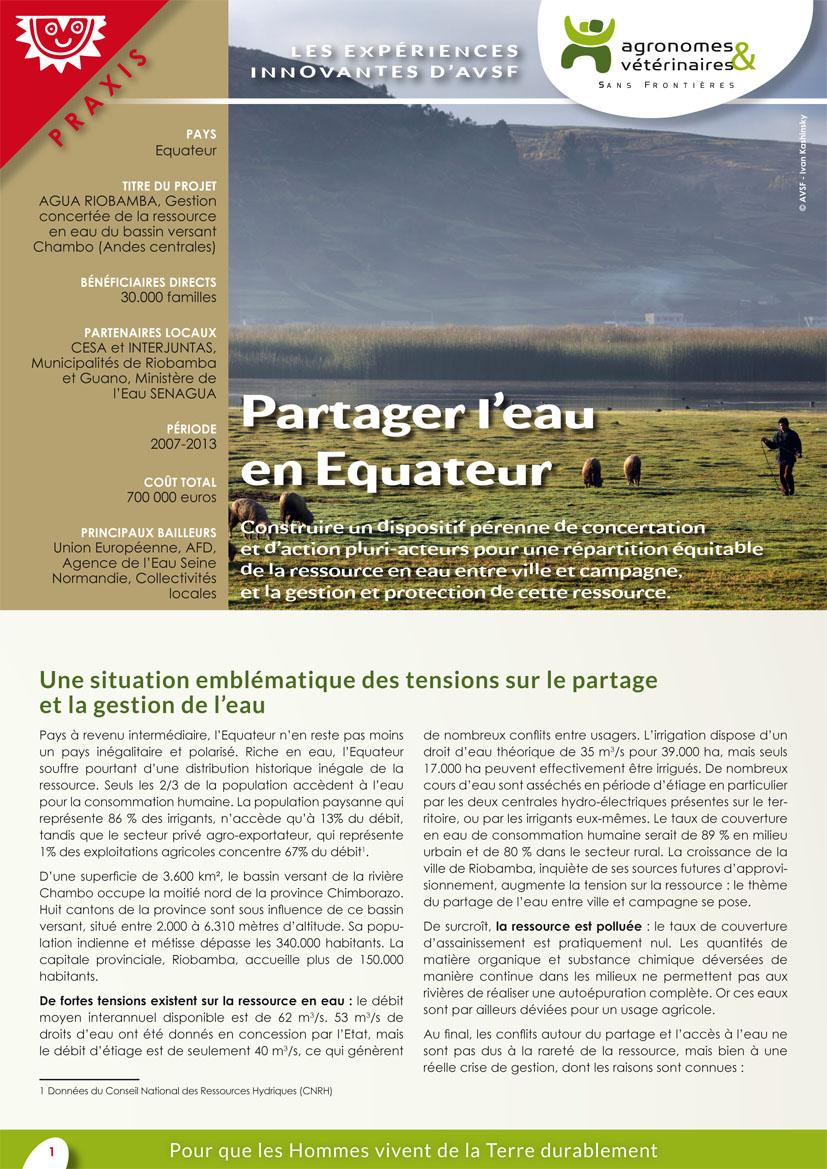 Les expériences innovantes d'AVSF : Partager l'eau en Equateur  Image principale