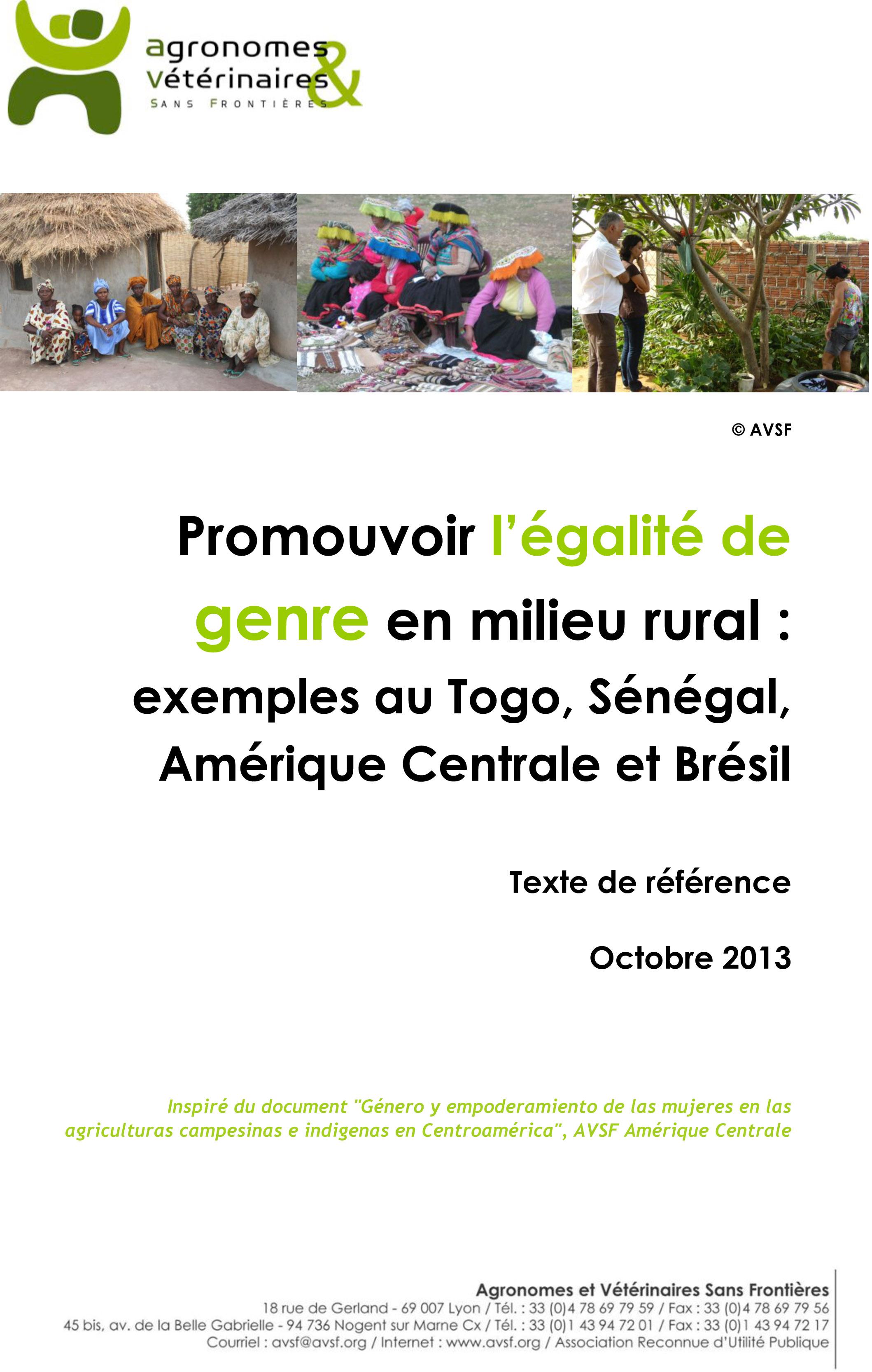 Promouvoir l'égalité de genre en milieu rural : exemples au Togo, Sénégal, Amérique Centrale et Brésil Image principale