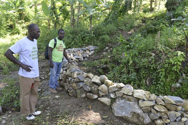 Un  paysan (premier plan) et Obenson Jean, de Crose, devant un mur de rétention,  construit à Michineau avec le financement d'AVSF.jpg
