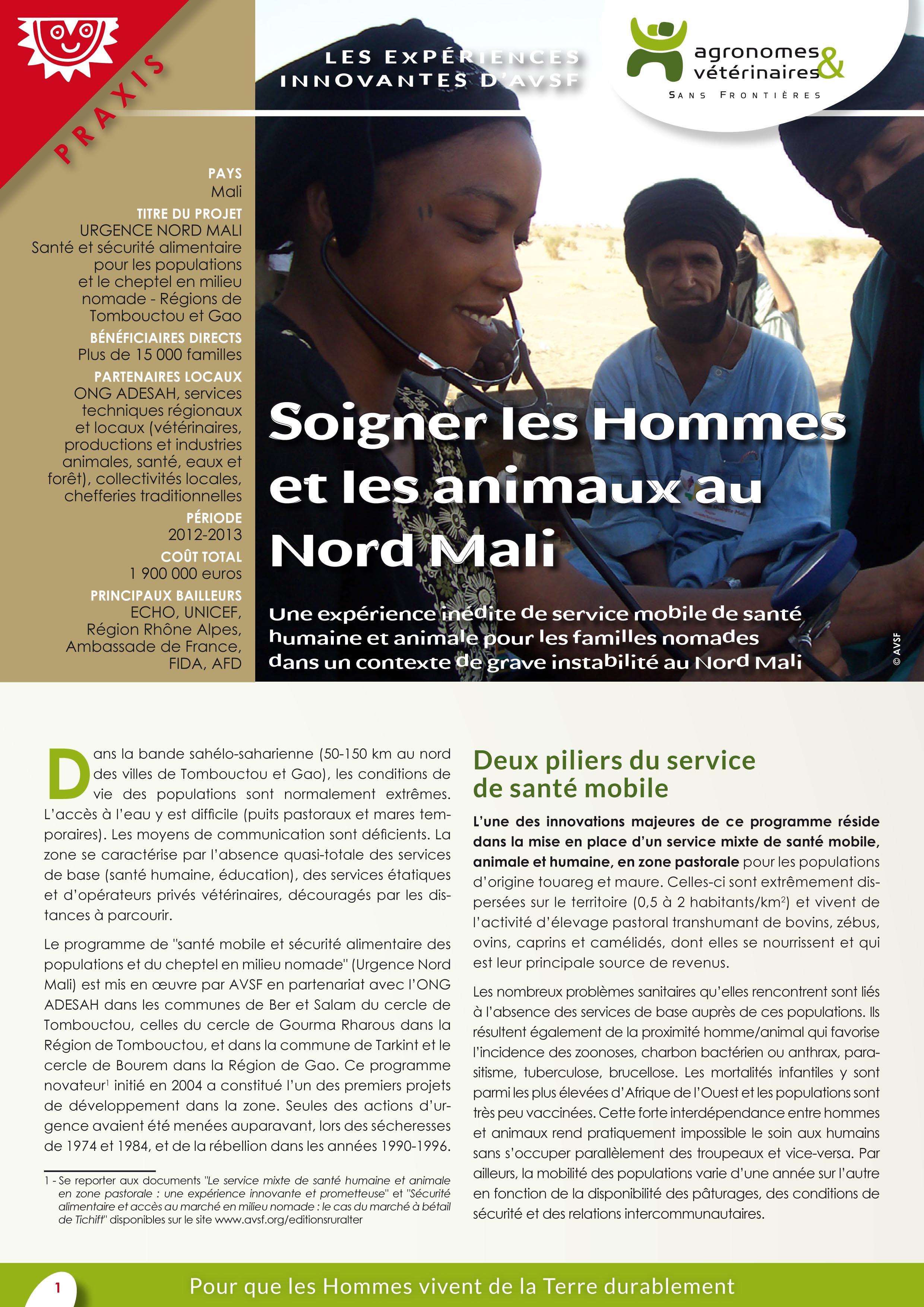 les expériences innovantes d'AVSF : soigner les Hommes et les animaux au Nord Mali Image principale