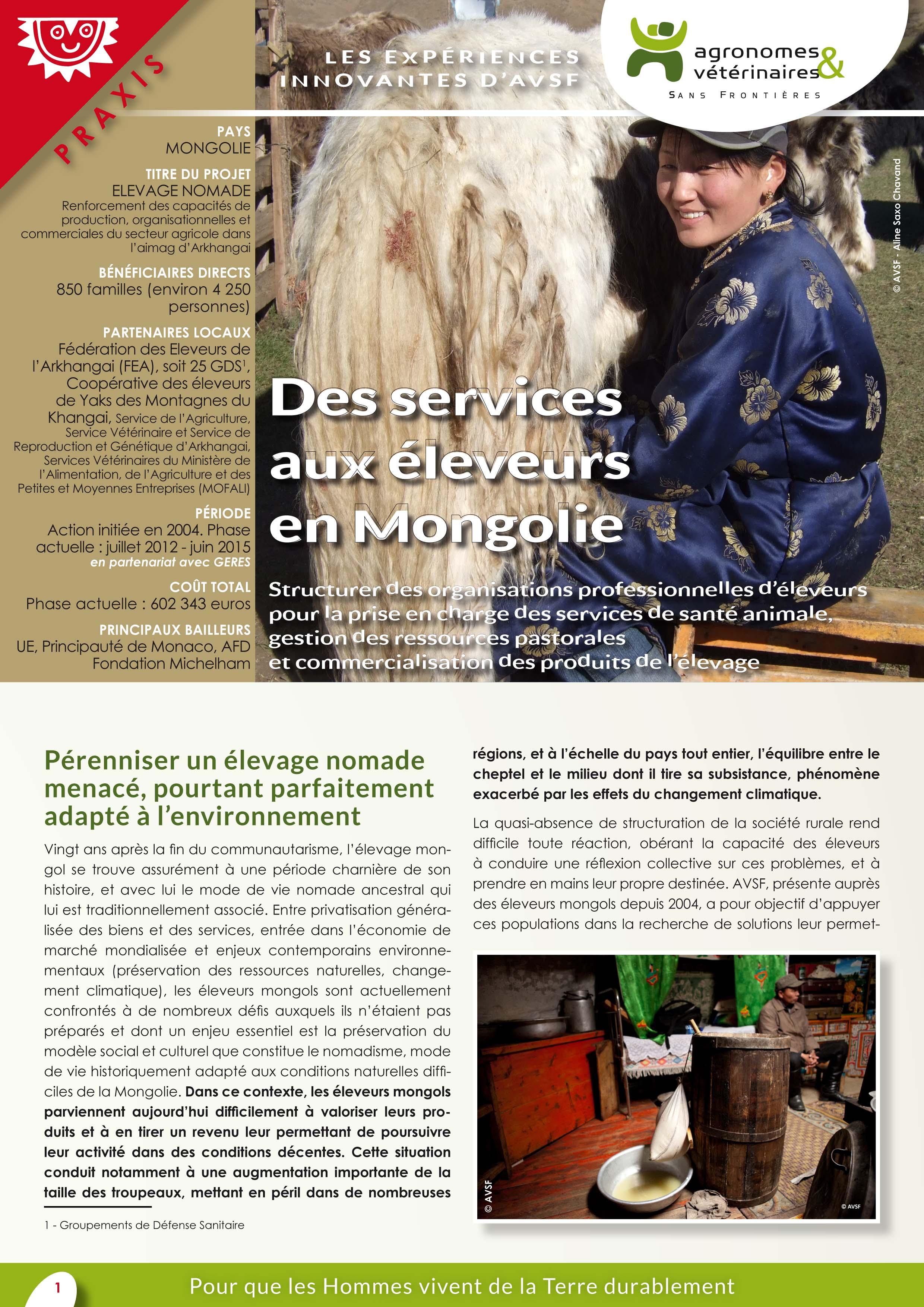 Les expériences innovantes d'AVSF : Des services aux éleveurs en Mongolie Image principale