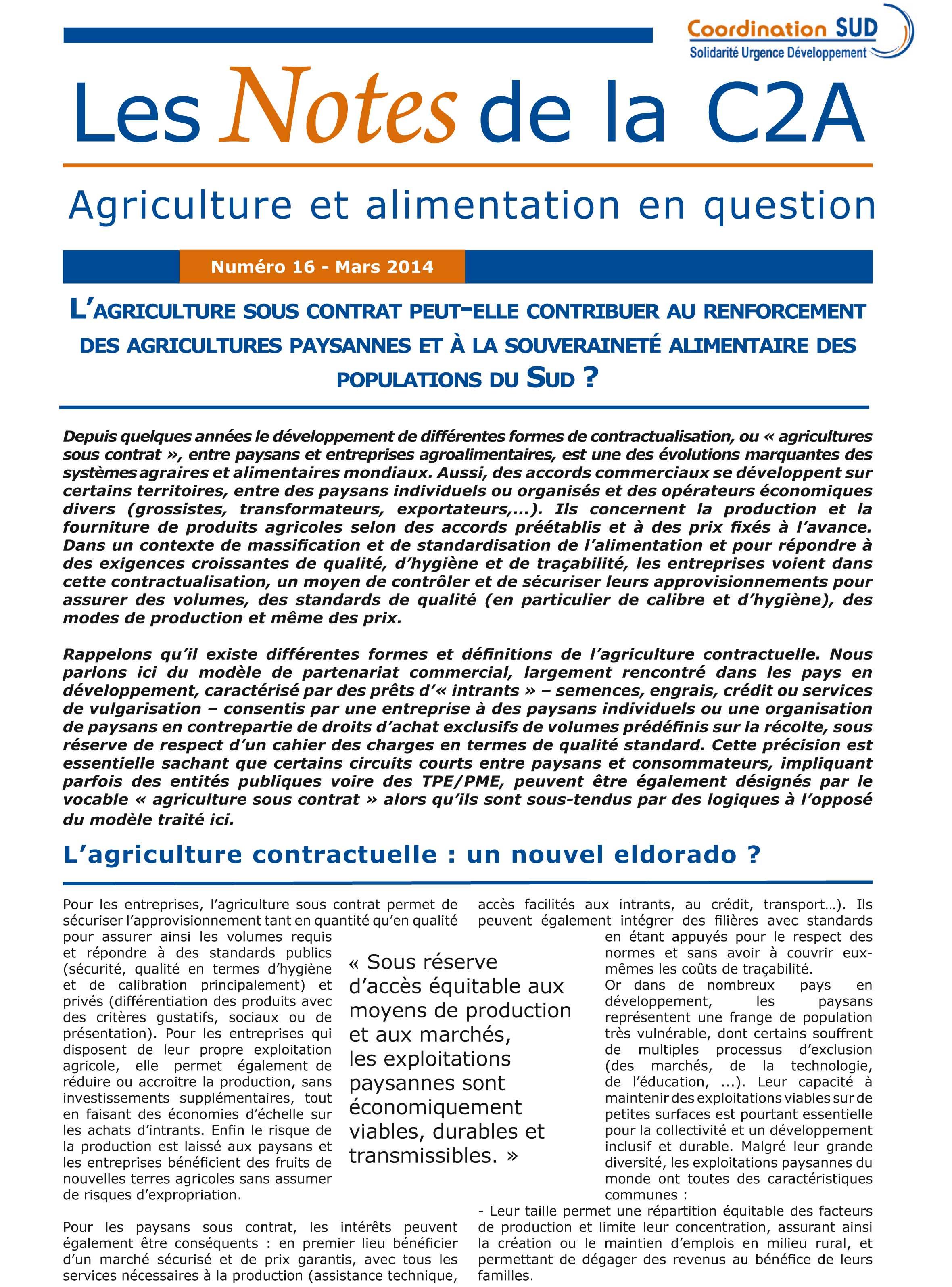 L'agriculture sous contrat peut-elle contribuer au renforcement des agricultures paysannes et à La souveraineté alimentaire des populations du sud ? Image principale