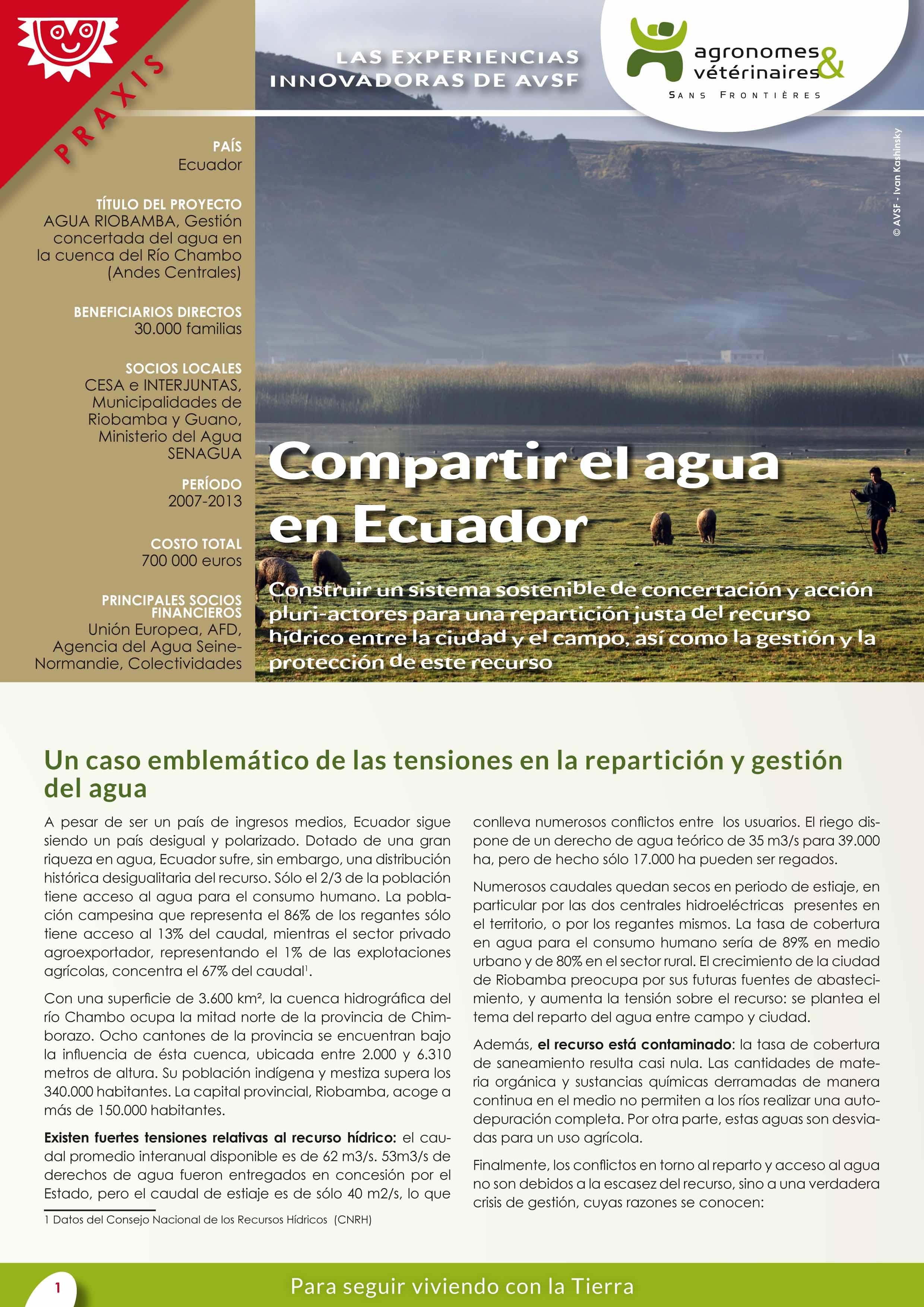 Las experiencias innovadoras de AVSF: Compartir el agua en Ecuador Image principale