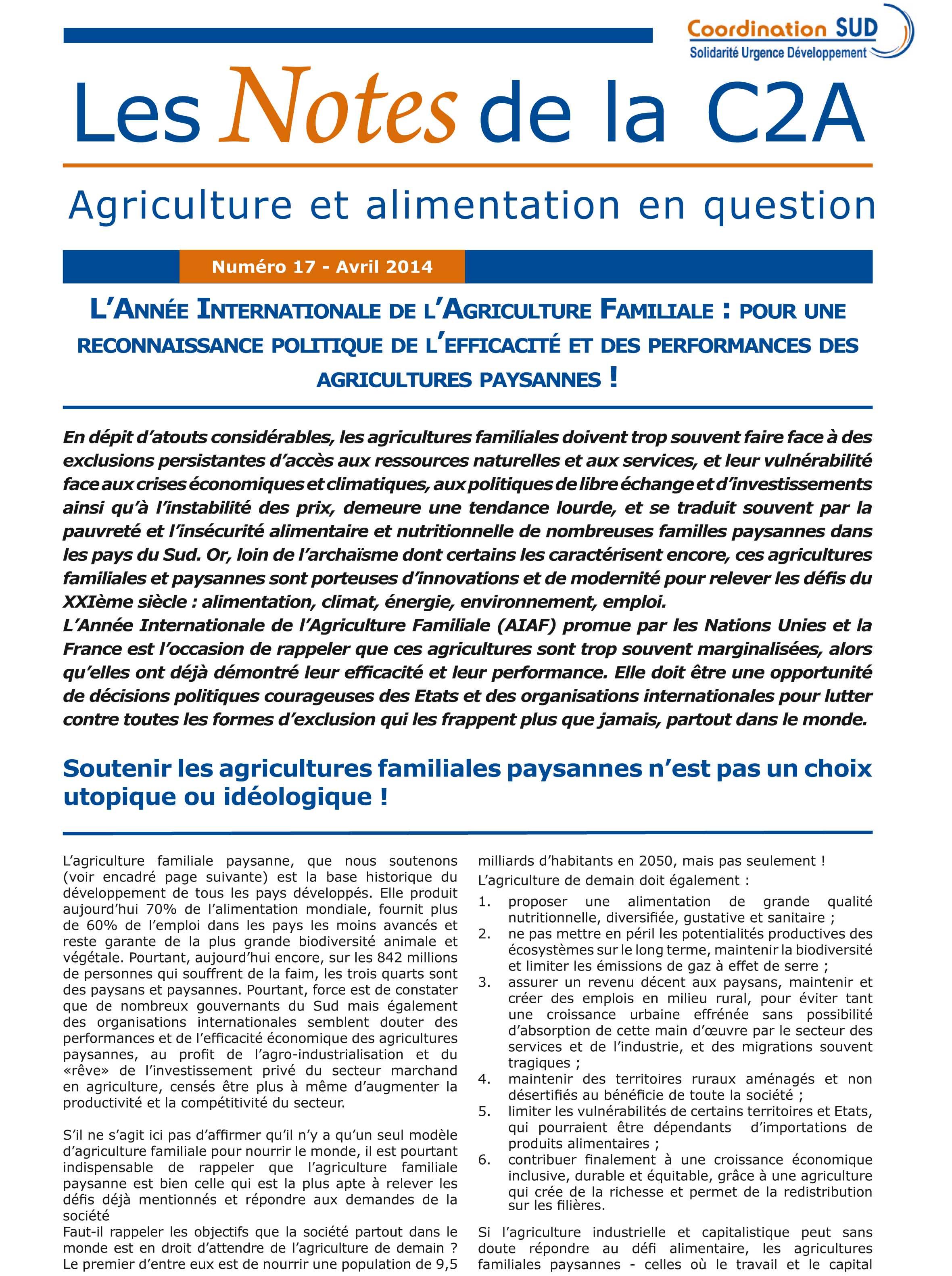 L'Année Internationale des Agricultures Familiales : pour une reconnaissance politique de l'efficacité et des performances des agricultures paysannes !  Image principale
