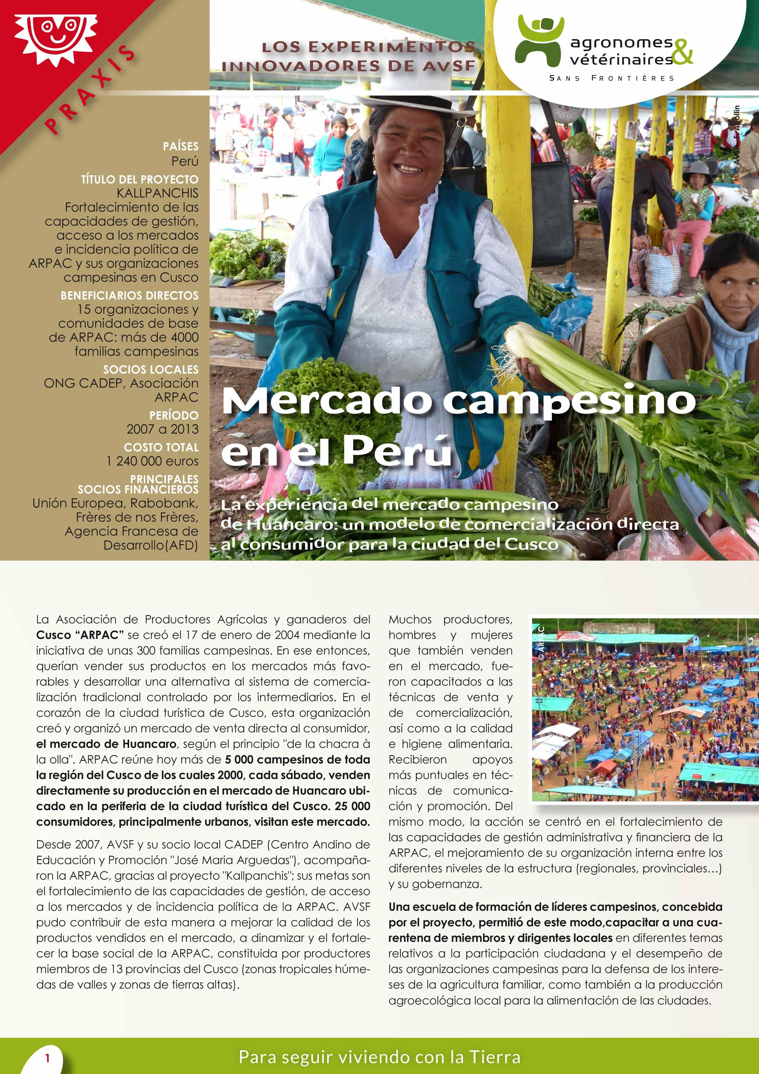 Las experiencias innovadoras de AVSF: Mercado campesino en el Perú Image principale