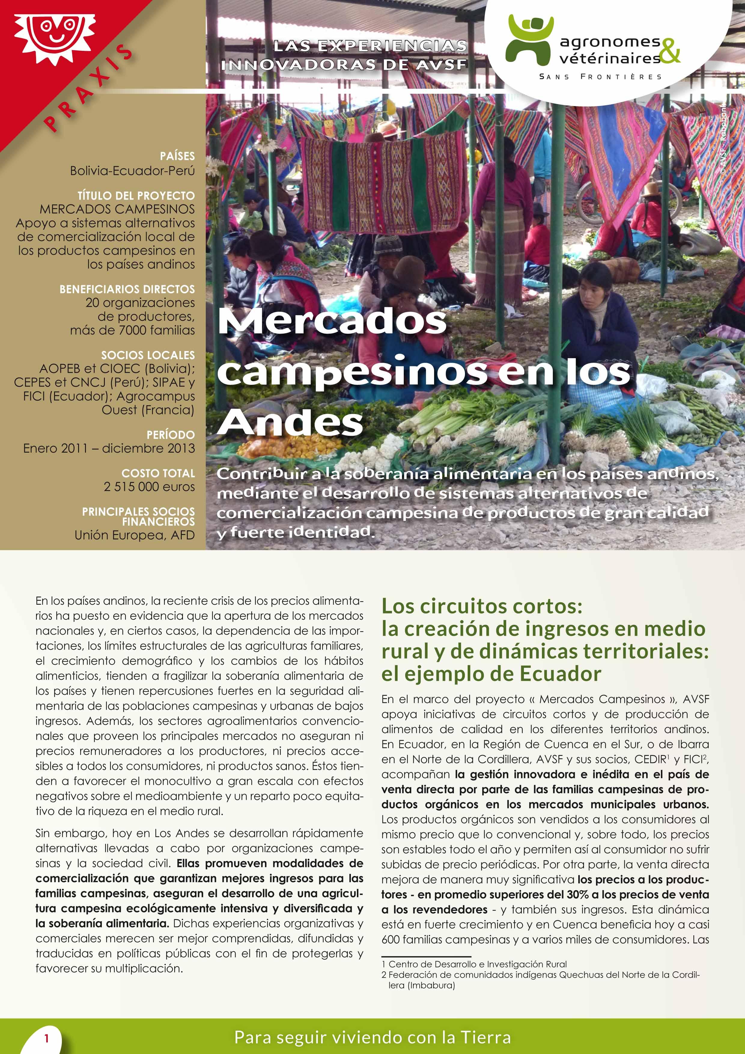 Las experiencias innovadoras de AVSF: Mercados campesinos en los Andes Image principale