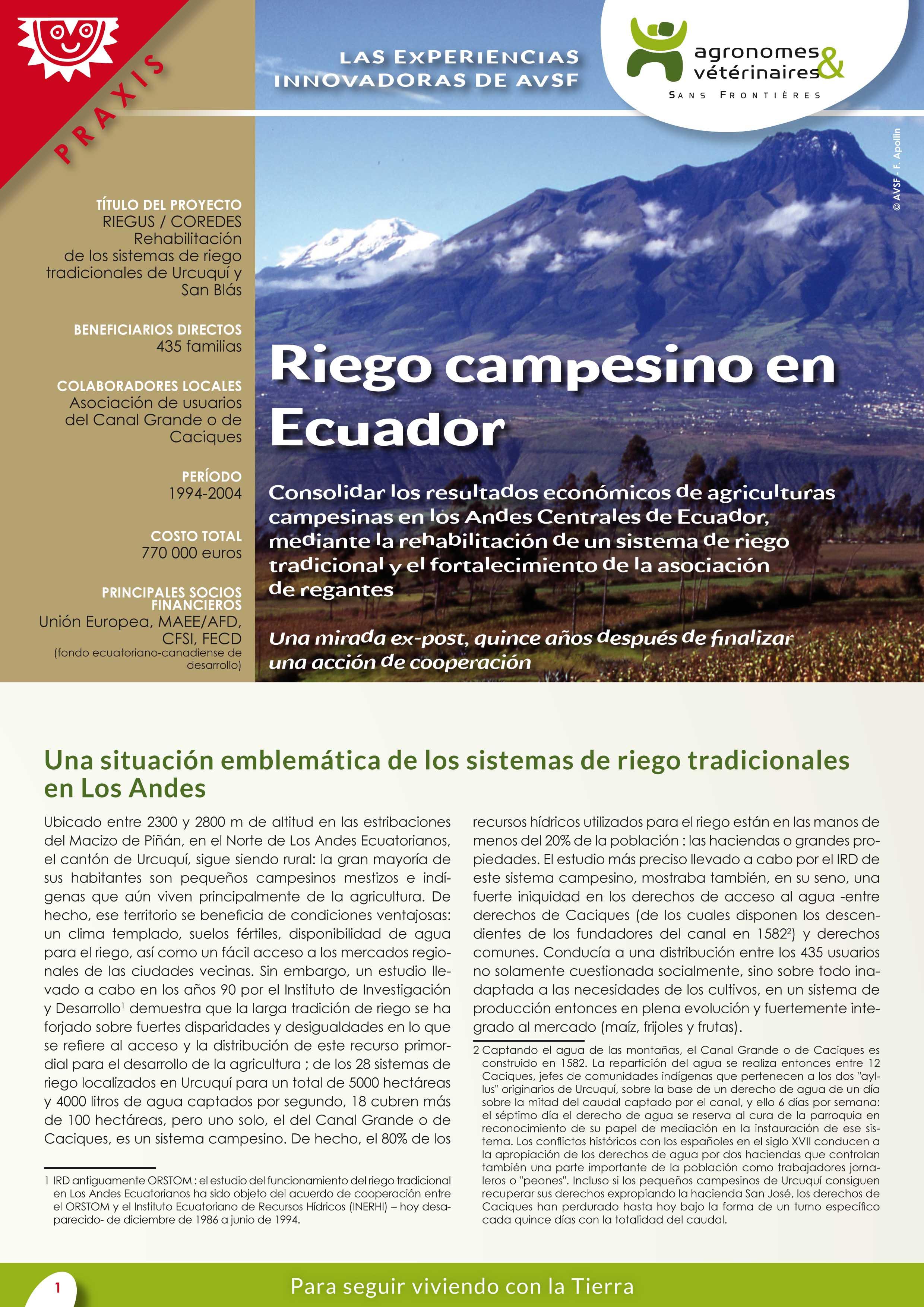 Las experiencias innovadoras de AVSF: Riego campesino en Ecuador Image principale