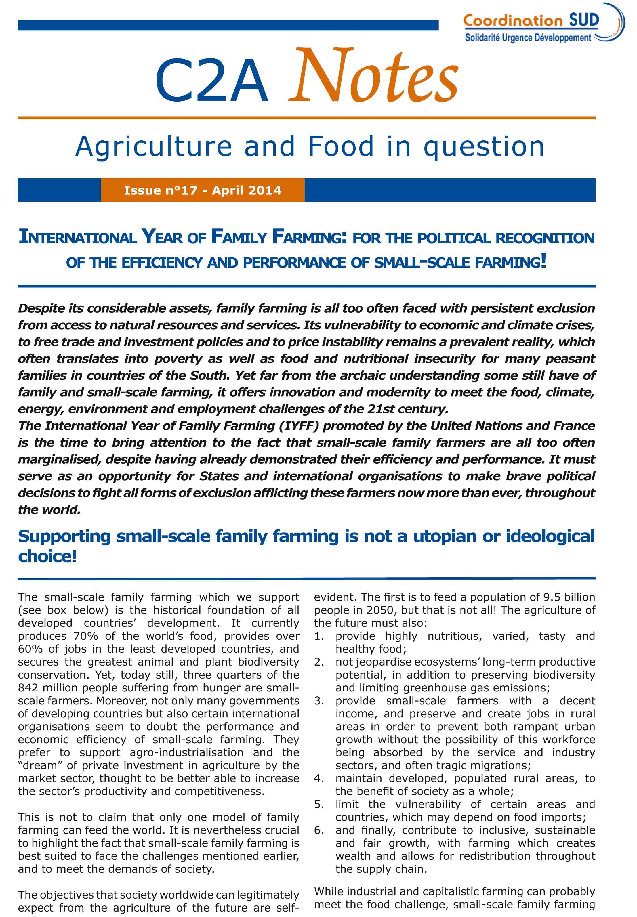 InternatIonal year of famIly farmIng: for the polItIcal recognItIon of the effIcIency and performance of small-scale farmIng! Image principale
