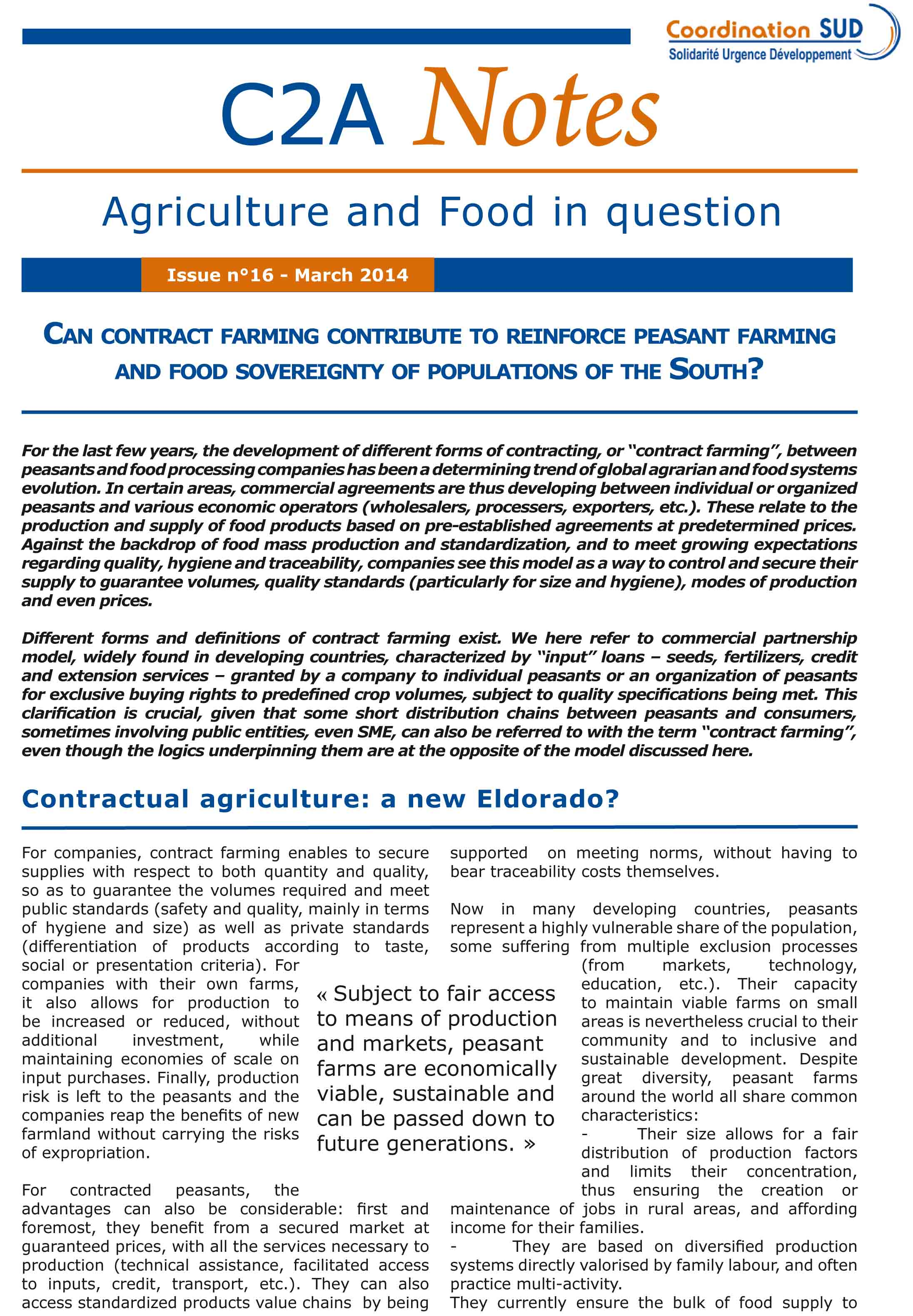 Can contract farming contribute to reinforce peasant farming and food sovereignty of populations of the south? Image principale