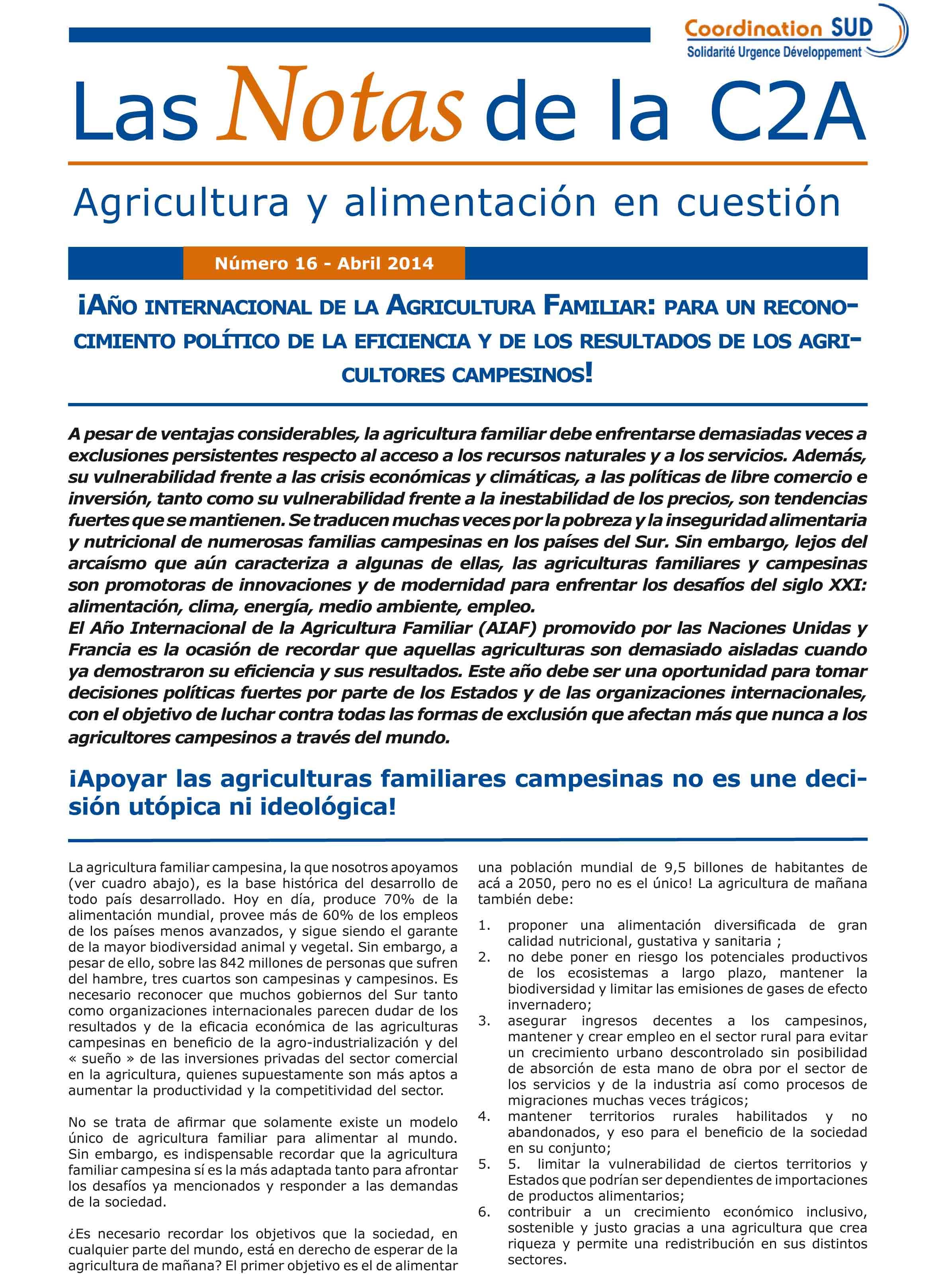 ¡Año internacional de la Agricultura Familiar: para un reconocimiento político de la eficiencia y de los resultados de los agricultores campesinos! Image principale