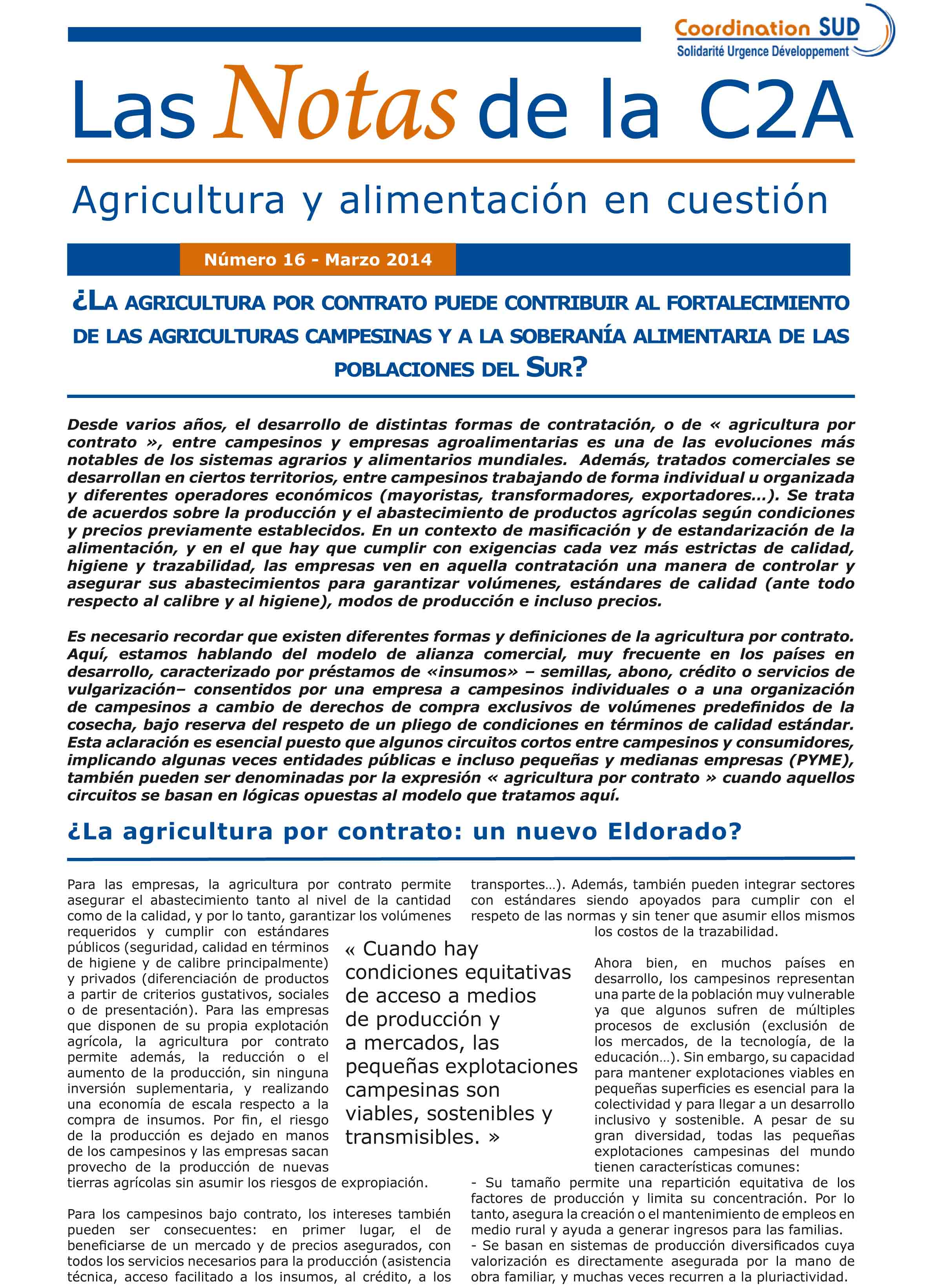 ¿Puede contribuir la agricultura por contrato al fortalecimiento de las agriculturas campesinas y a la soberanía alimentaria de las poblaciones de sur? Image principale