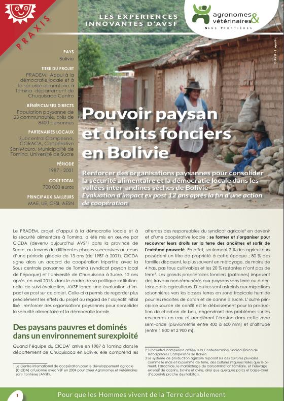 Les expériences innovantes d'AVSF : Pouvoir paysan et droits fonciers en Bolivie Image principale