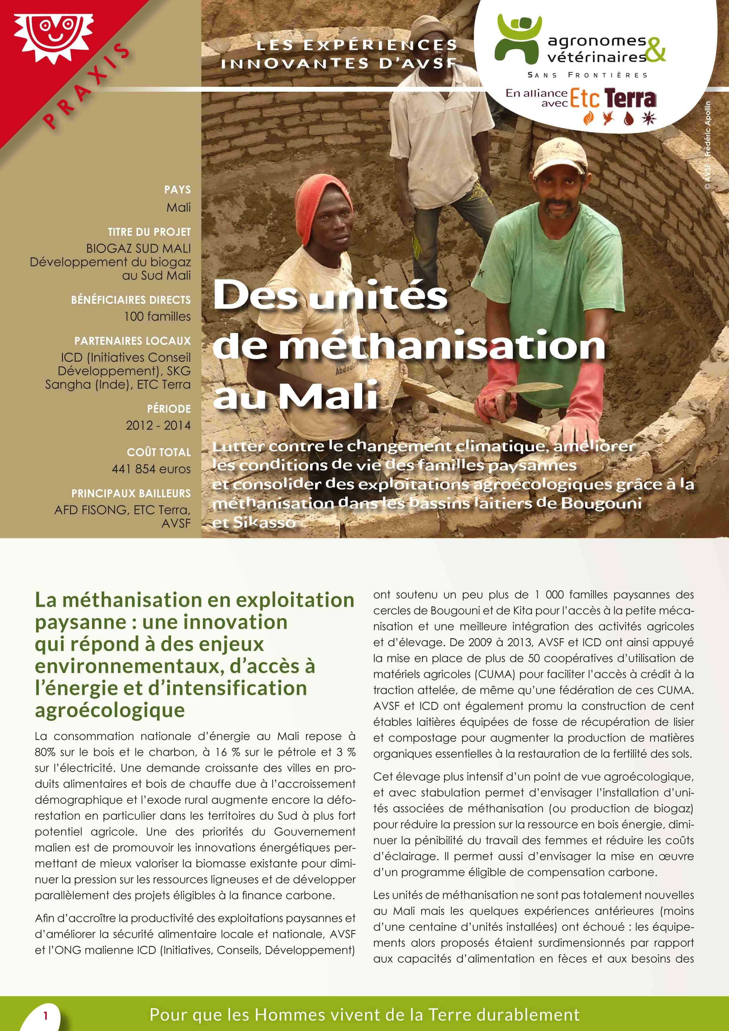 Les expériences innovantes d'AVSF : Des unités de méthanisation au Mali Image principale