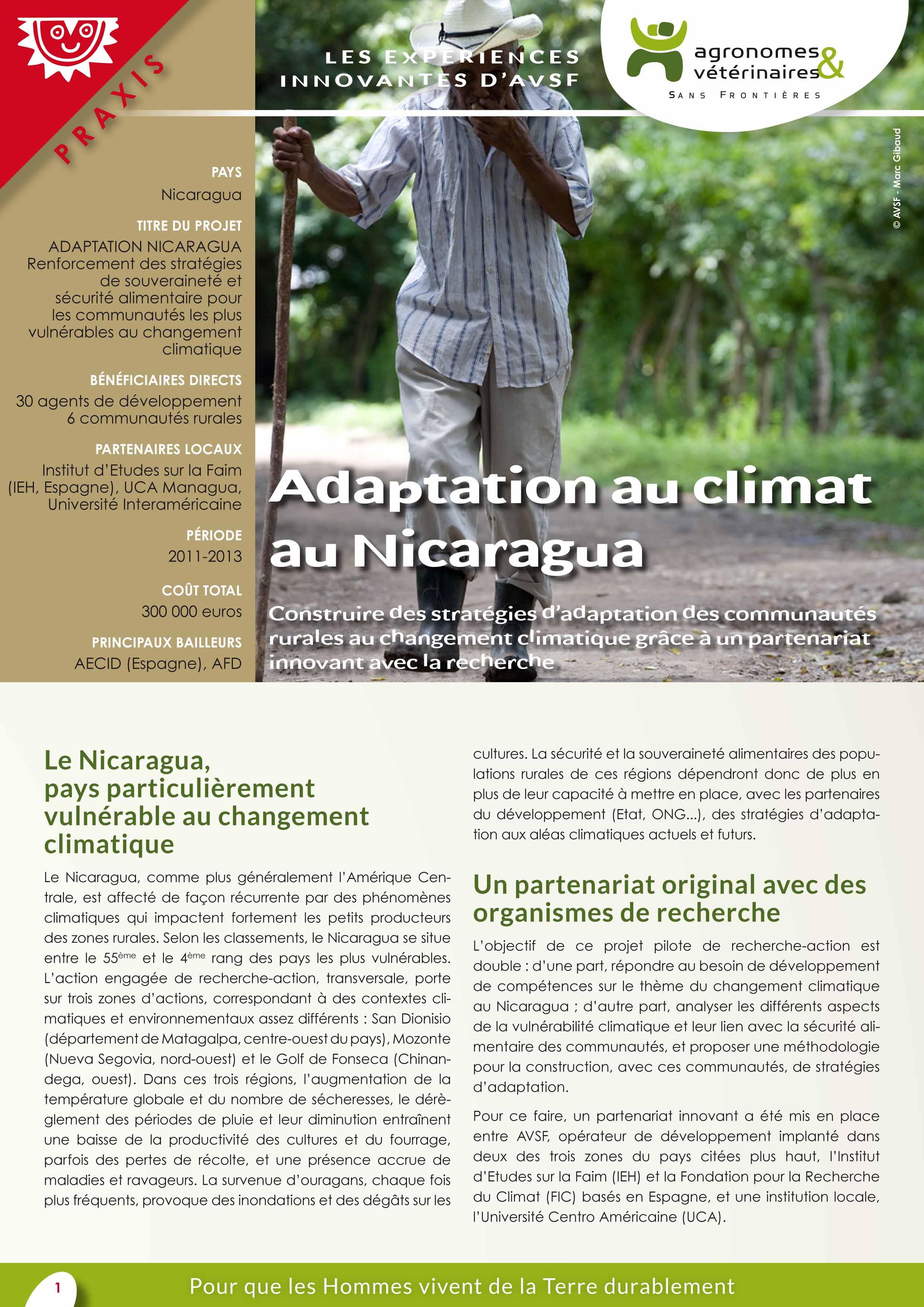 Les expériences innovantes d'AVSF : Adaptation au climat au Nicaragua Image principale