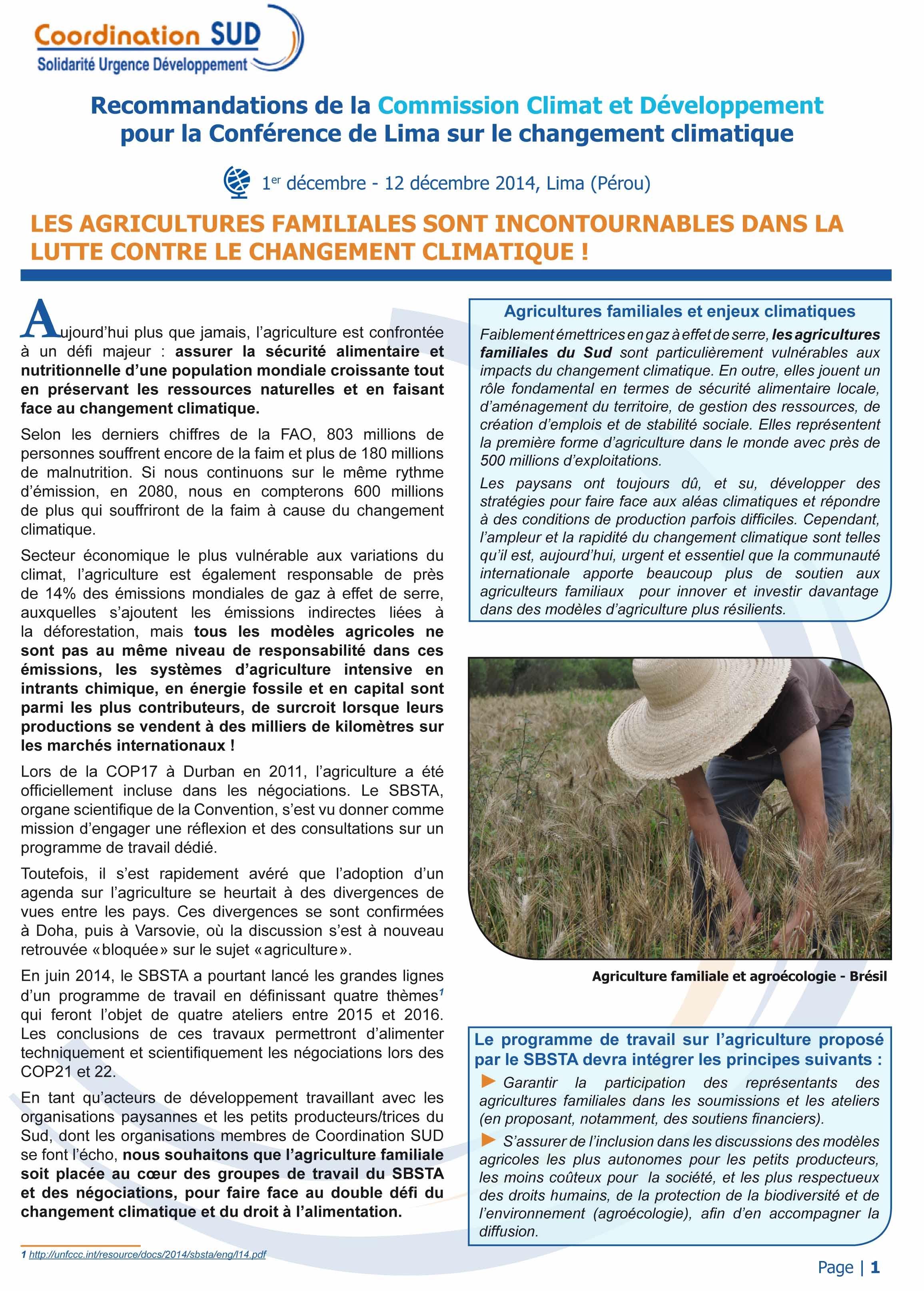 Les agricultures familiales sont incontournables dans la lutte contre le changement climatique !  Image principale