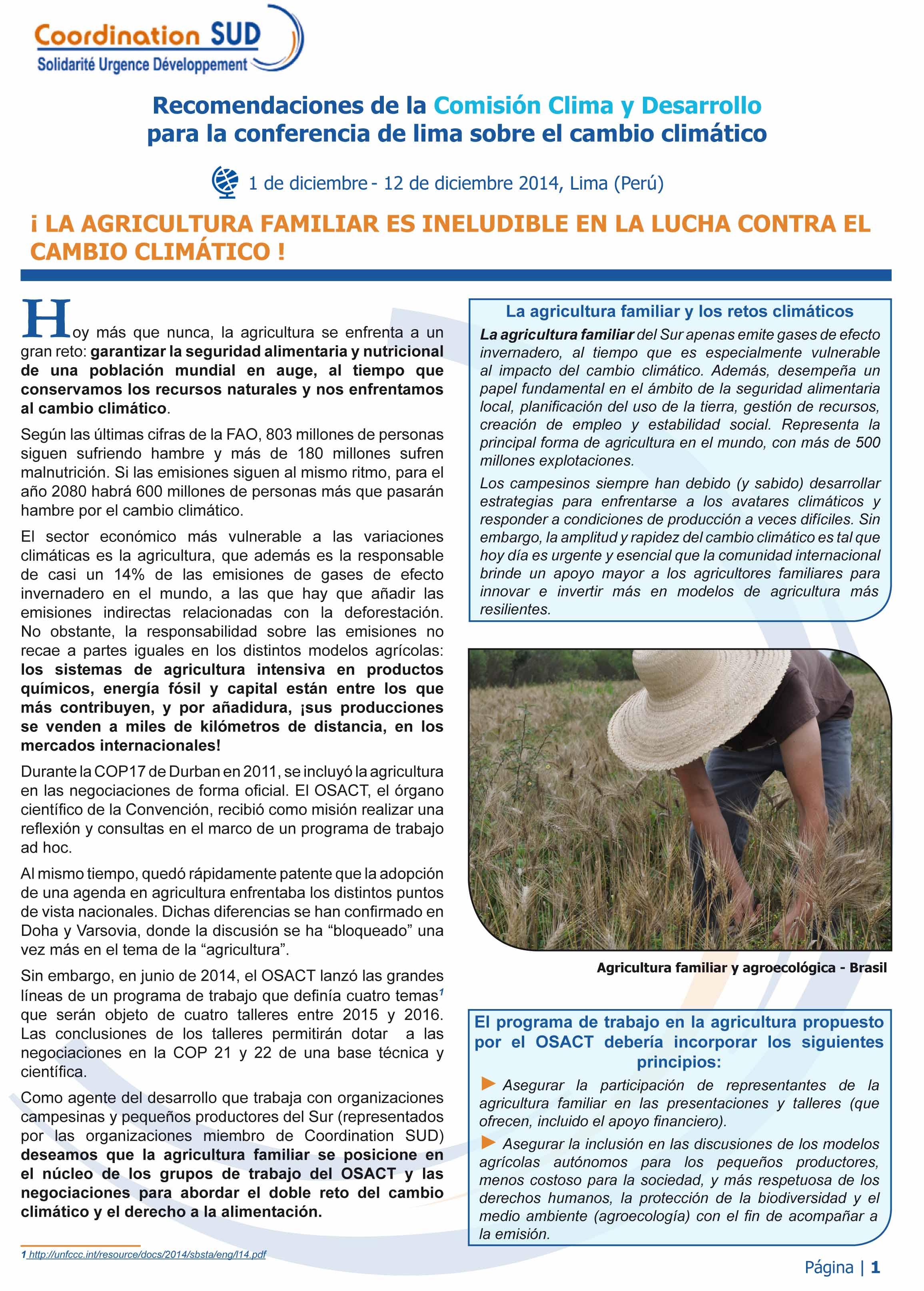 ¡ La agricultura familiar es ineludible en la lucha contre el cambio climático!  Image principale