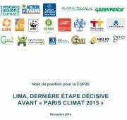 """LIMA, dernière étape décisive avant """"Paris Climat 2015""""  : Note de position des ONG françaises présentes à la COP20 Vignette"""