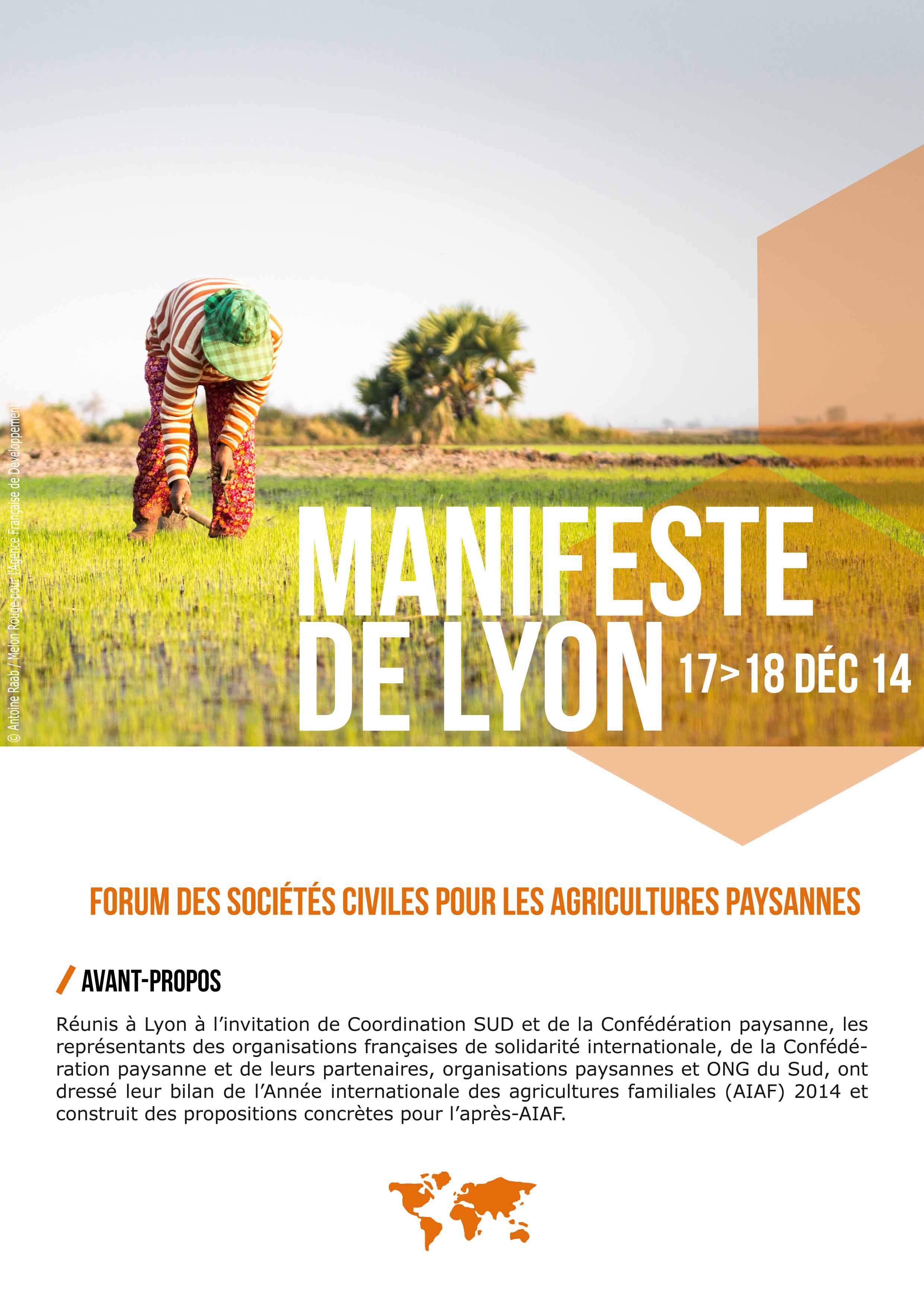 Manifeste de Lyon : Forum des Sociétés Civiles pour les Agricultures Paysannes Image principale