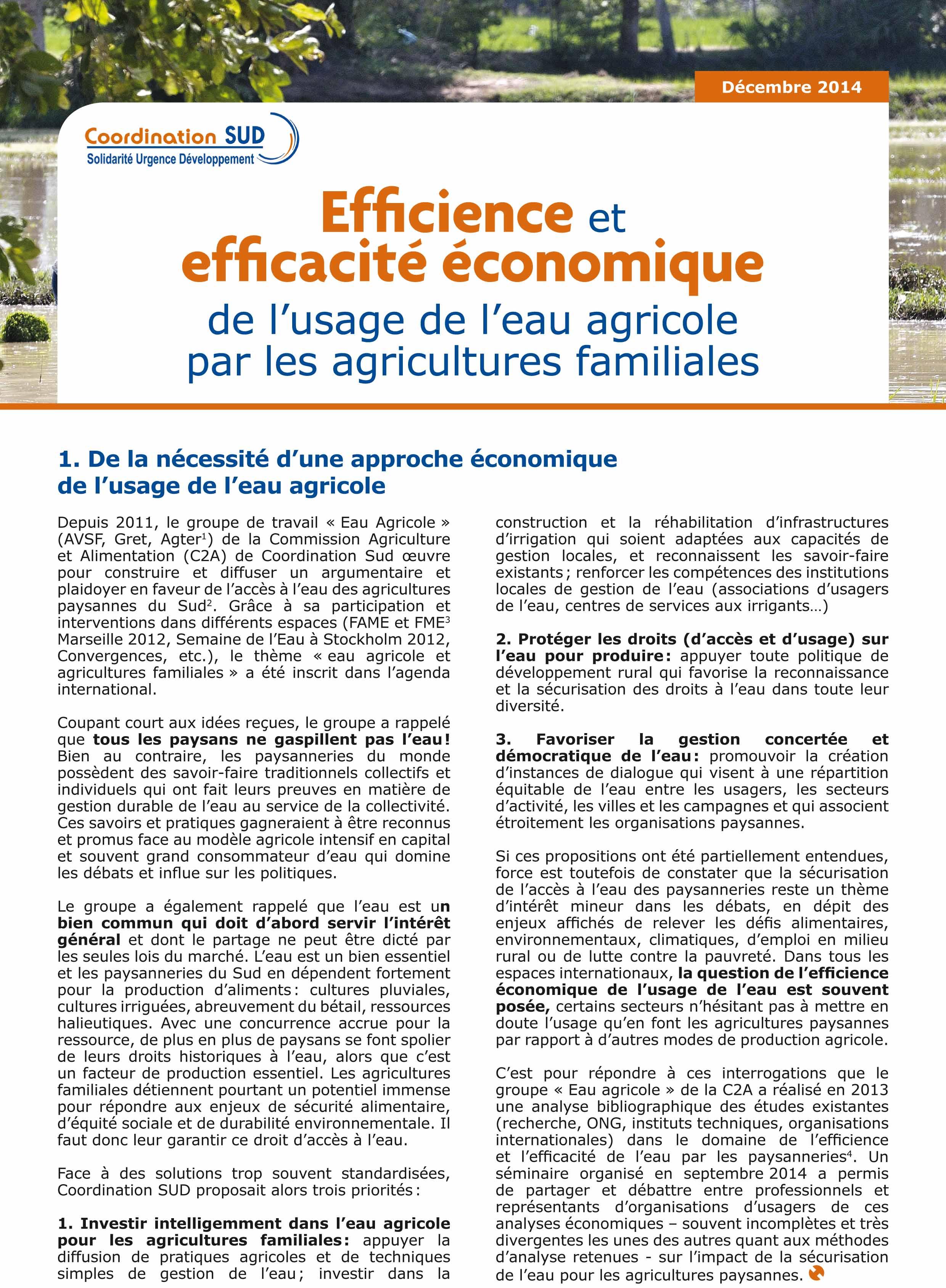 Efficience et efficacité économique de l'usage de l'eau agricole par les agricultures familiales Image principale