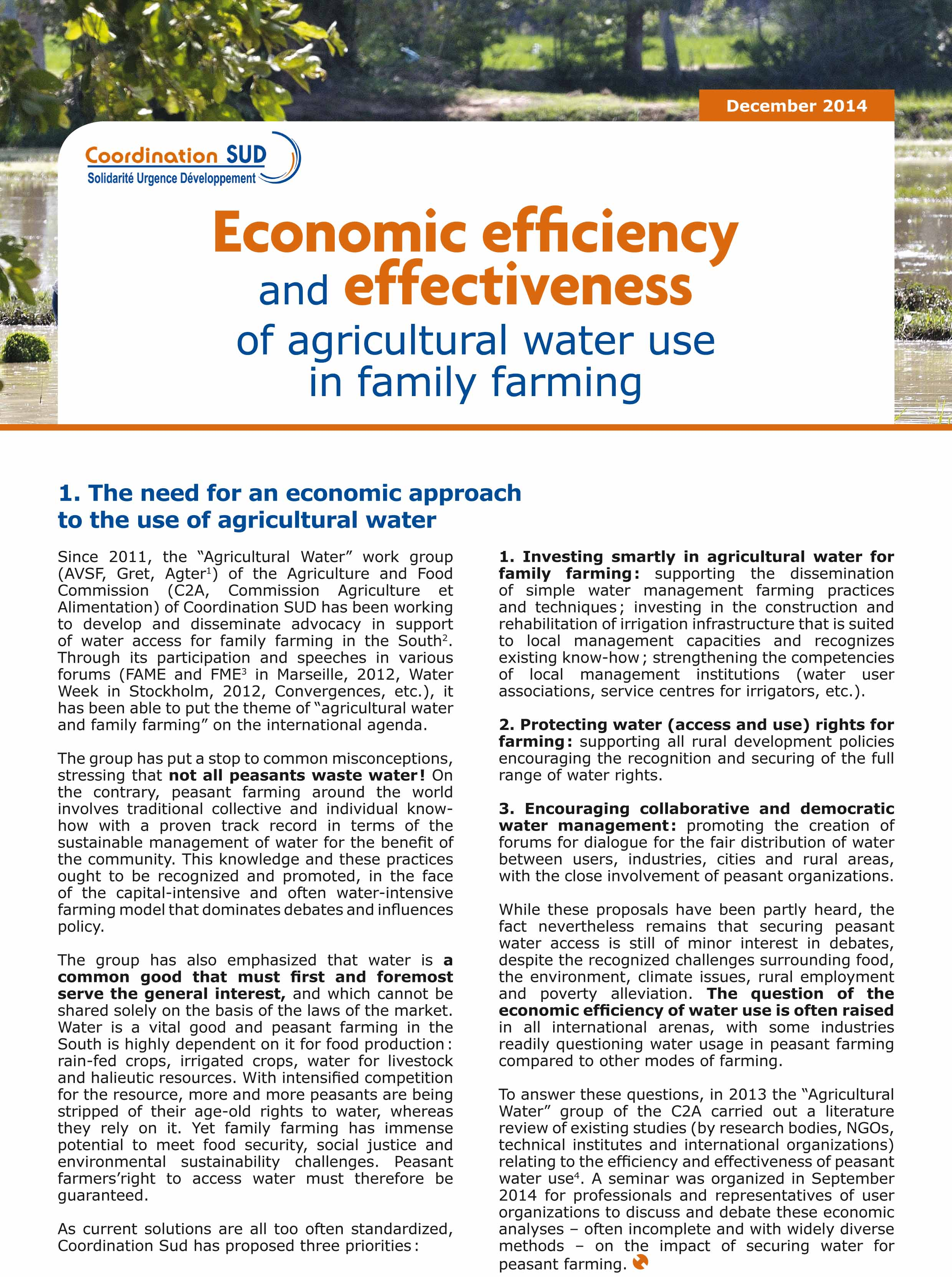Economic efficiency and effectiveness of agricultural water use in family farming Image principale