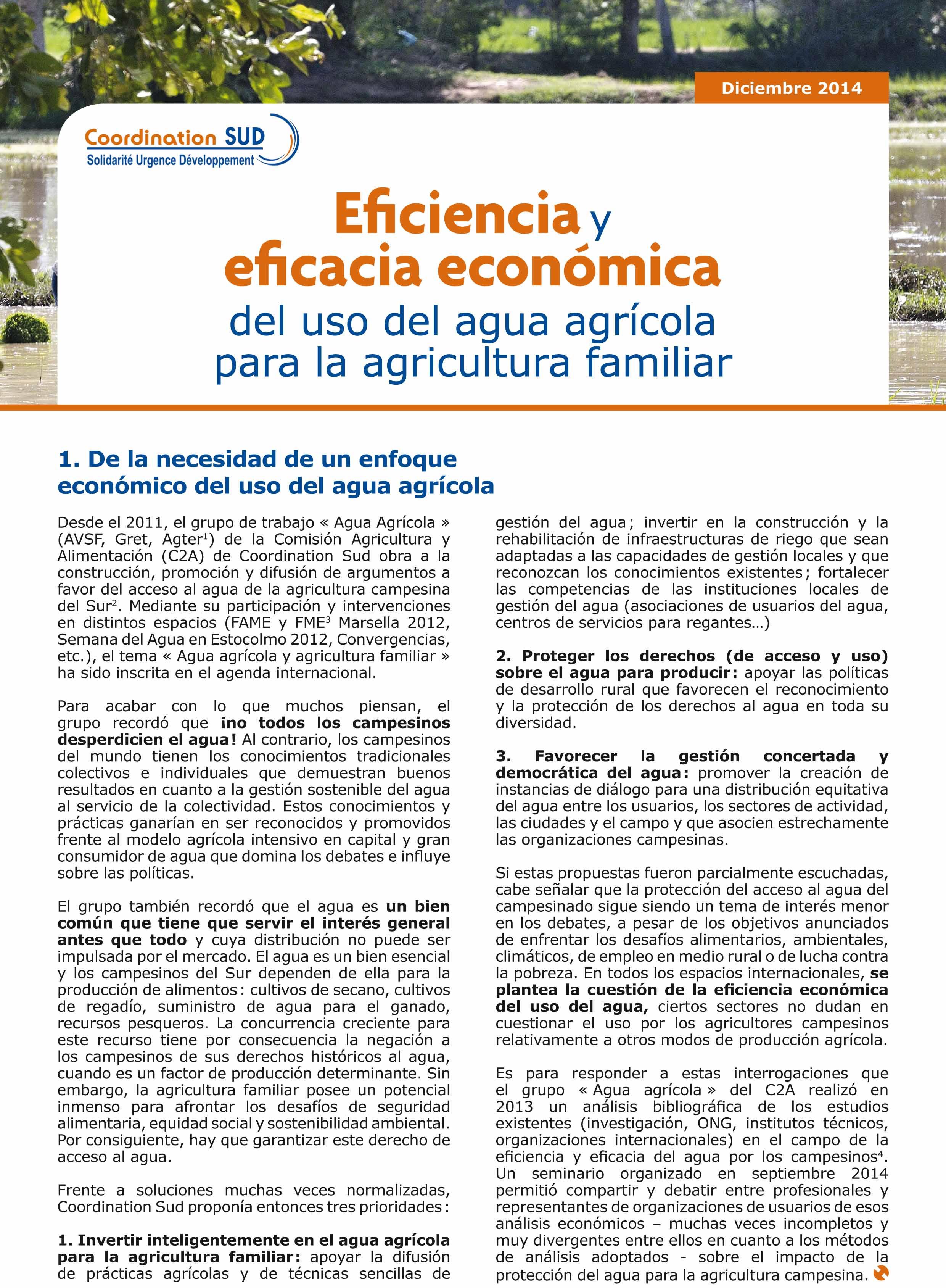 Eficiencia y eficacia económica del uso del agua agrícola para la agricultura familiar Image principale