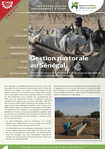 Les expériences innovantes d'AVSF : Gestion pastorale au sénégal  Image principale