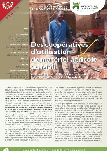 Les expériences innovantes d'AVSF : Des coopératives d'utilisation de matériel agricole au Mali  Image principale