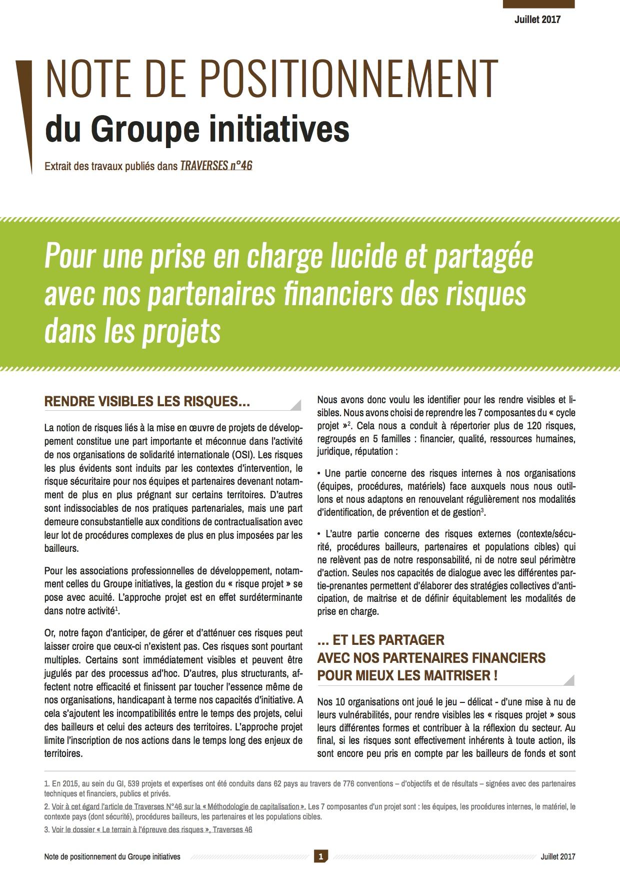 Pour une prise en charge lucide et partagée avec nos partenaires financiers des risques dans les projets Image principale