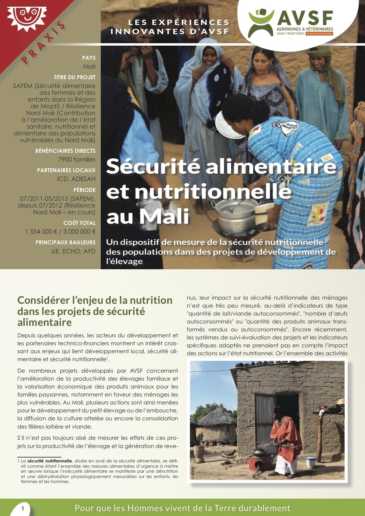 Les expériences innovantes d'AVSF : Sécurité alimentaire et nutritionnelle au Mali  Image principale