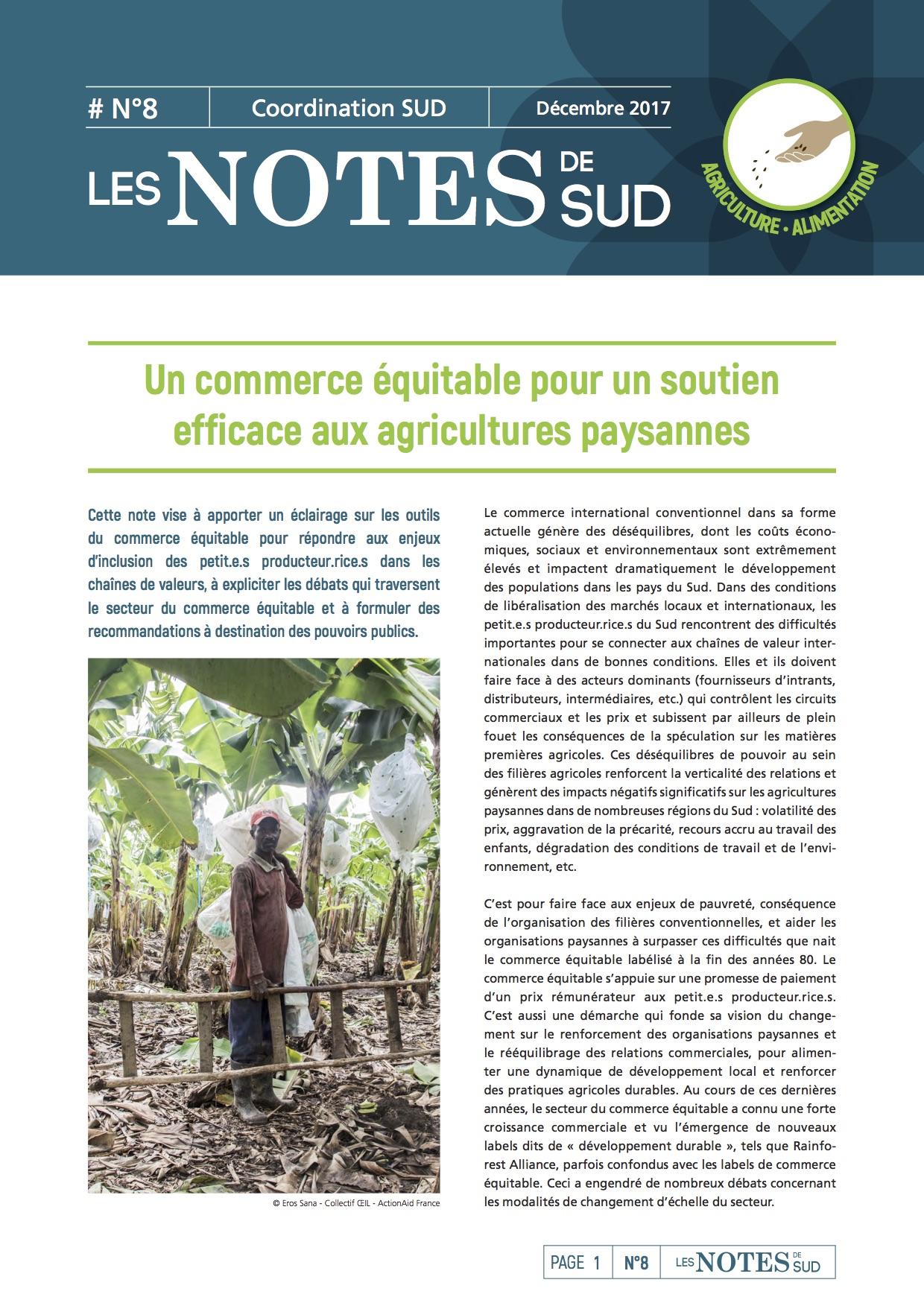 Un commerce équitable pour un soutien efficace aux agricultures paysannes Image principale