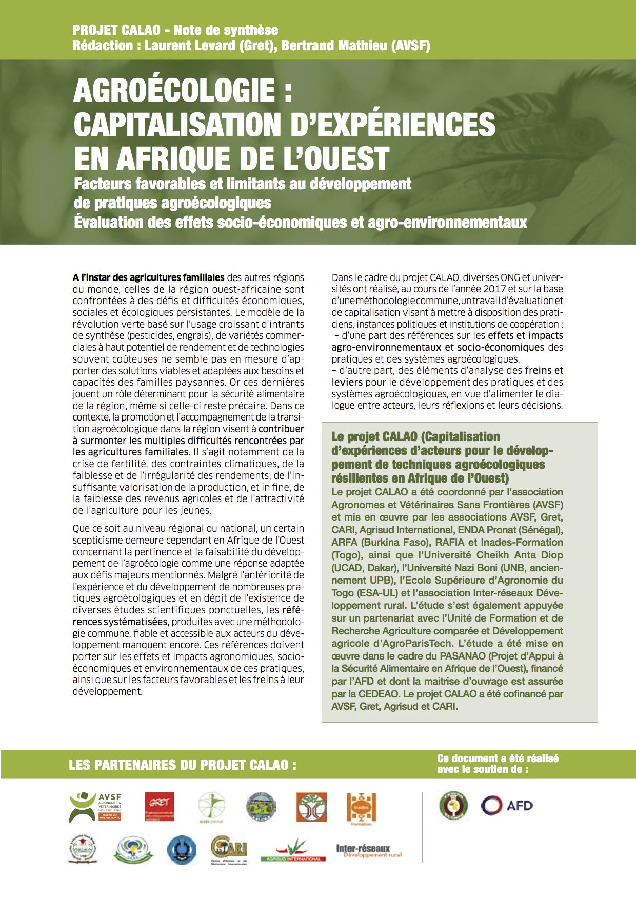Agroécologie : capitalisation d'expériences en Afrique de l'Ouest : facteurs favorables et limitants au développement de pratiques agroécologiques ; évaluation des effets socio-économiques et agro-environnementaux (note de synthèse) Image principal