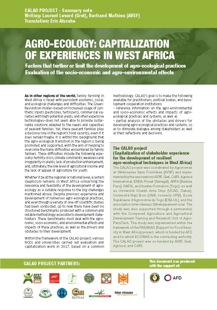 CALAO Project: Capitalization of Experiences in West Africa; Factors that further or limit the development of agro-ecological practices; Evaluation of the socio-economic and agro-environmental effects Image principale