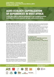 CALAO Project: Capitalization of Experiences in West Africa; Factors that further or limit the development of agro-ecological practices; Evaluation of the socio-economic and agro-environmental effects Vignette
