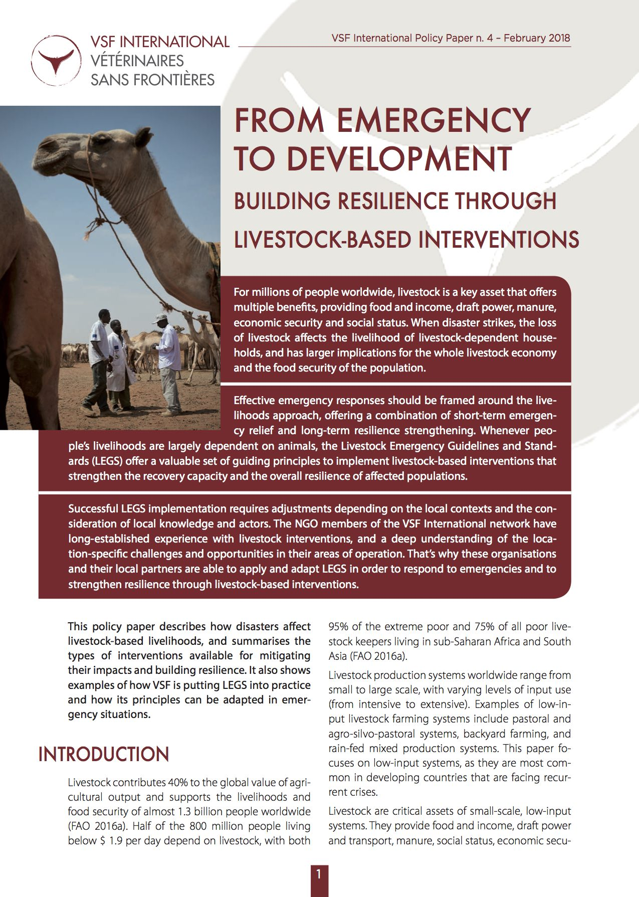 From emergency to development: building resilience through livestock-based interverventions Image principale