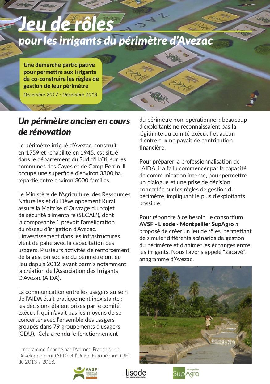 Un jeu de rôles pour les irrigants du périmètre d'Avezac en Haïti  Image principale