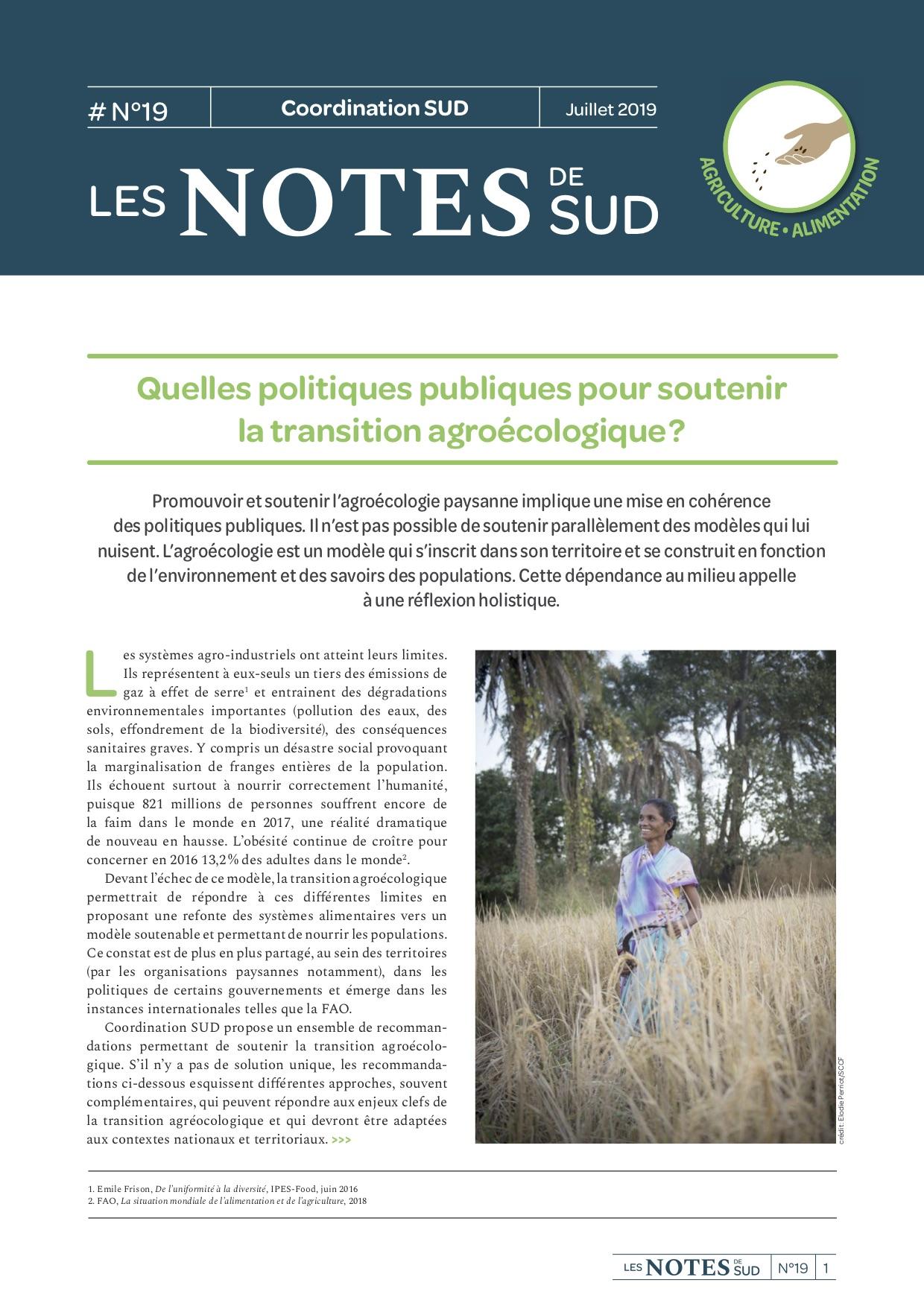 Quelles politiques publiques pour soutenir la transition agroécologique ? – Les Notes de SUD n°19  Image principale
