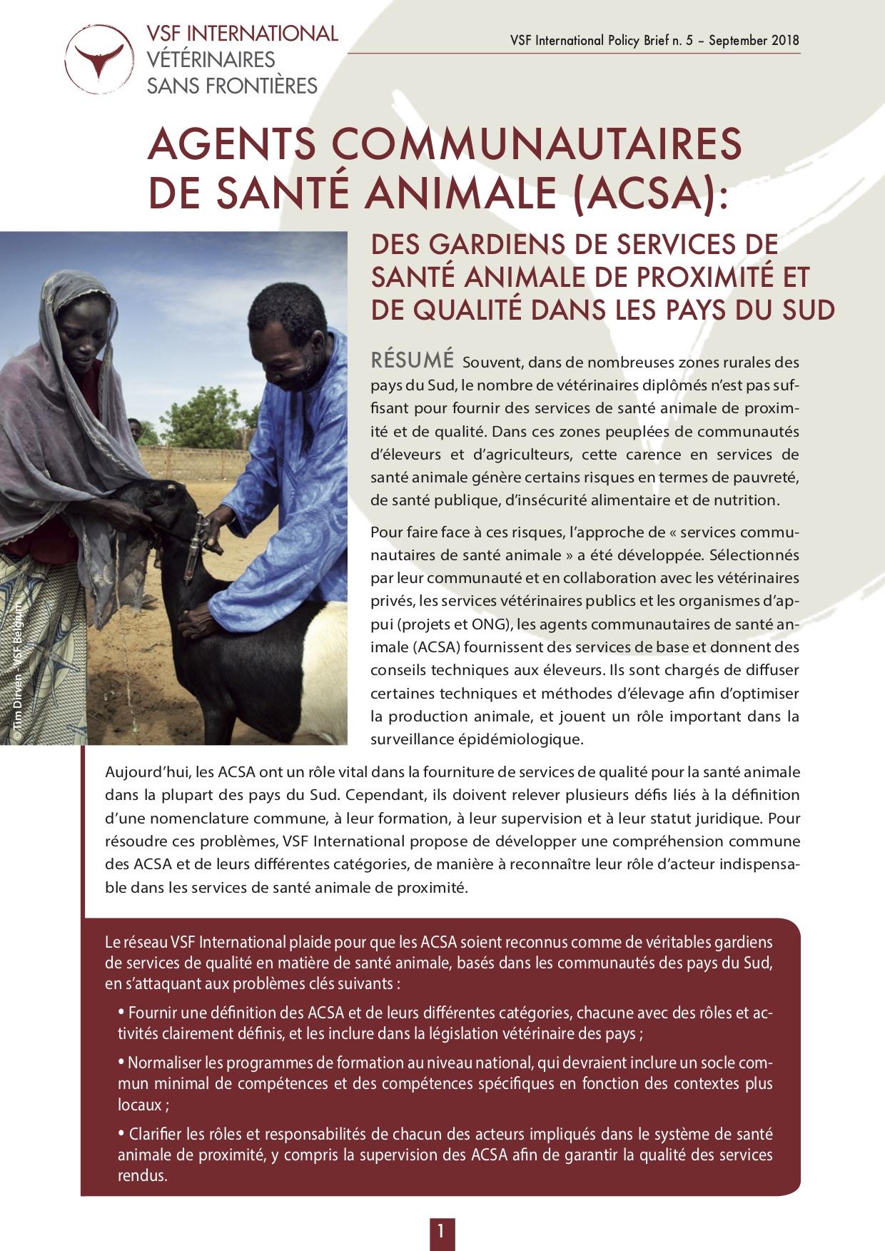 Agents communautaires de santé animale (ACSA) : des gardiens des services de santé animale de proximité et de qualité dans les pays du Sud Image principale