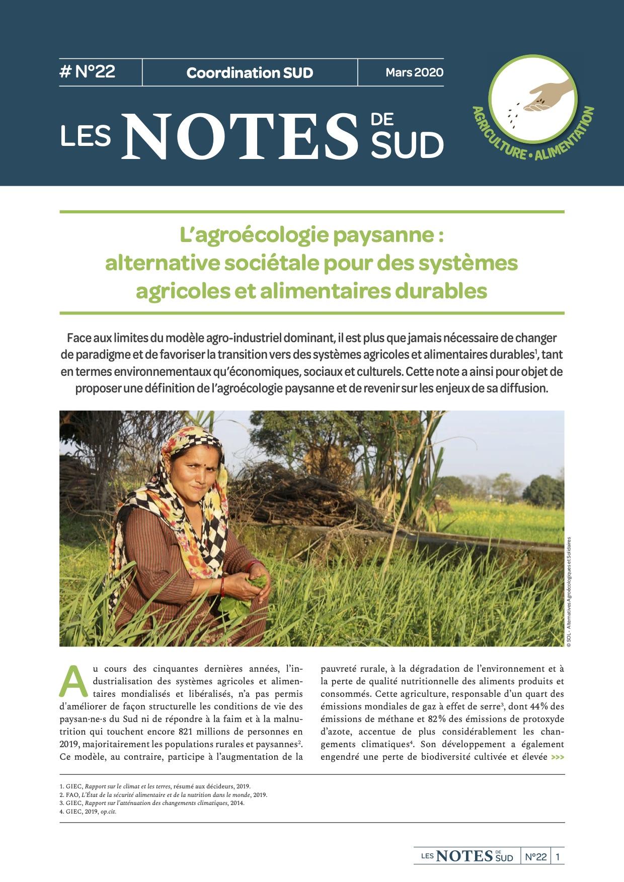 L'agroécologie paysanne : alternative sociétale pour des systèmes agricoles et alimentaires durables  Image principale