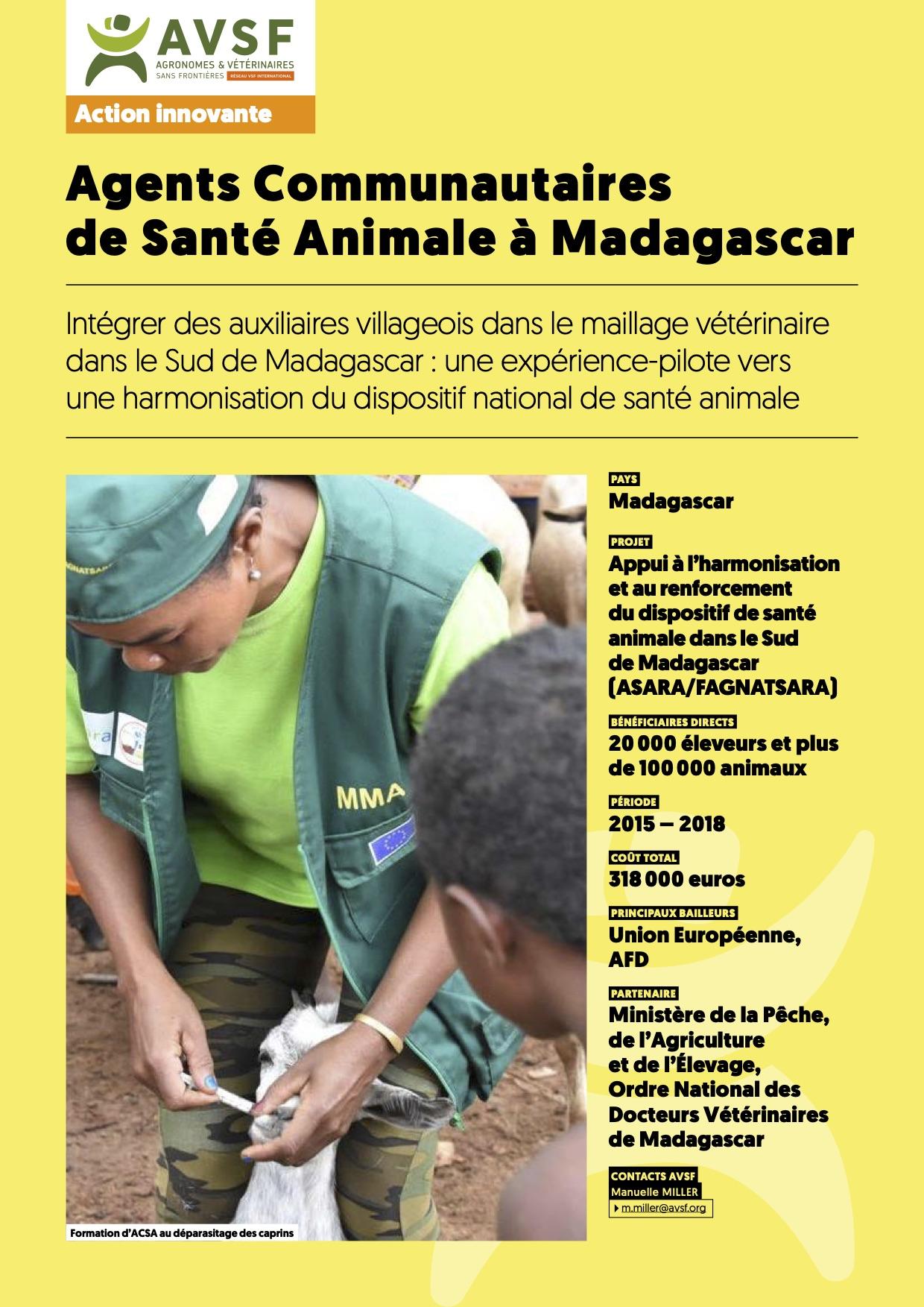 Les actions innovantes d'AVSF : Des agents communataires de santé animale à Madagascar  Image principale