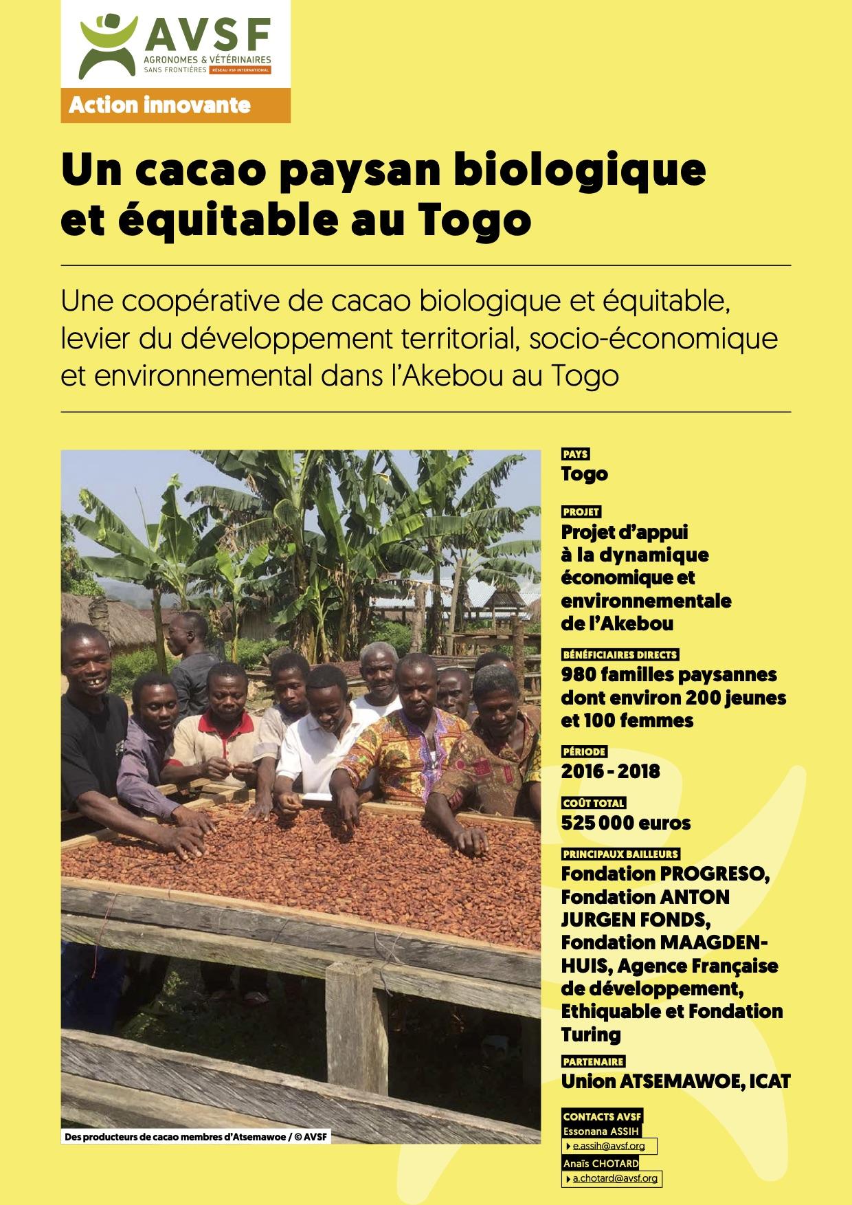 Les actions innovantes d'AVSF : Un cacao paysan biologique et équitable au Togo  Image principale