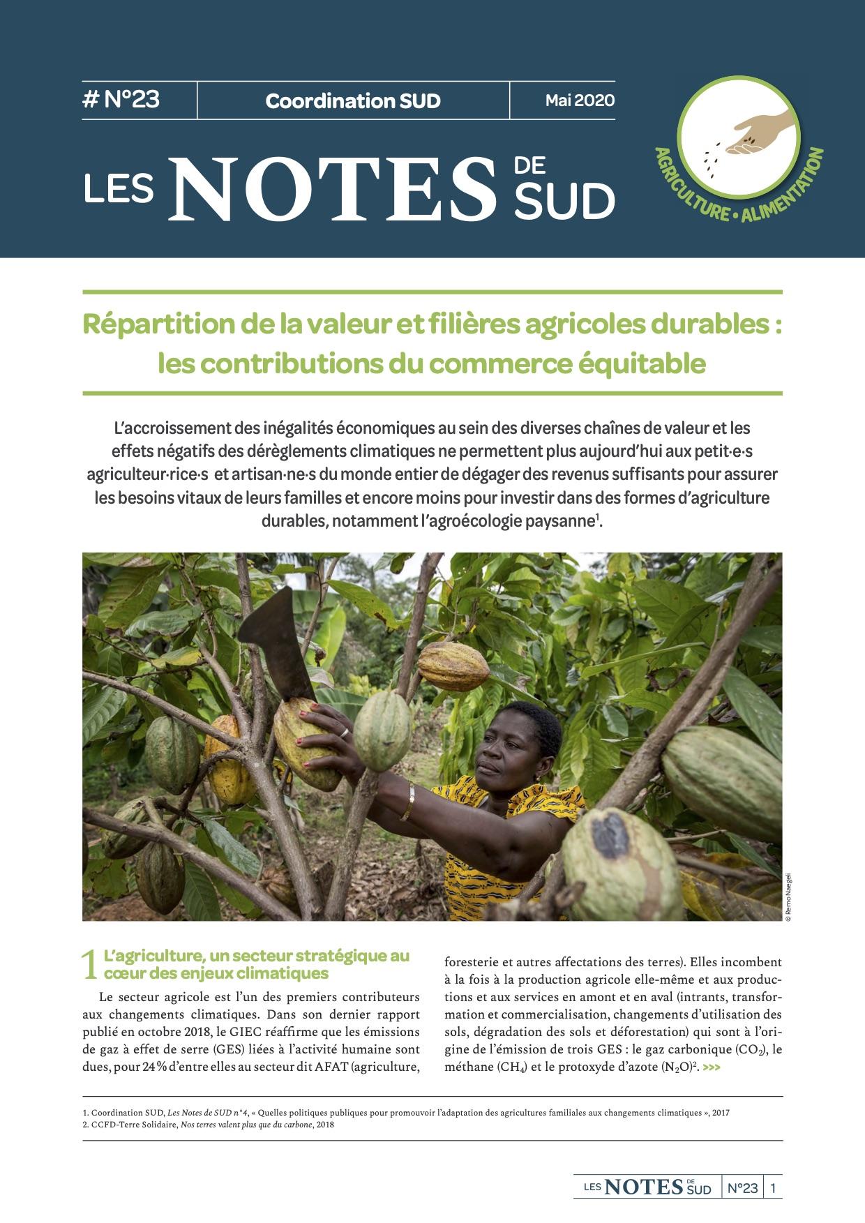 Répartition de la valeur et filières agricoles durables : les contributions du commerce équitable (Les notes de SUD n°23) Image principale