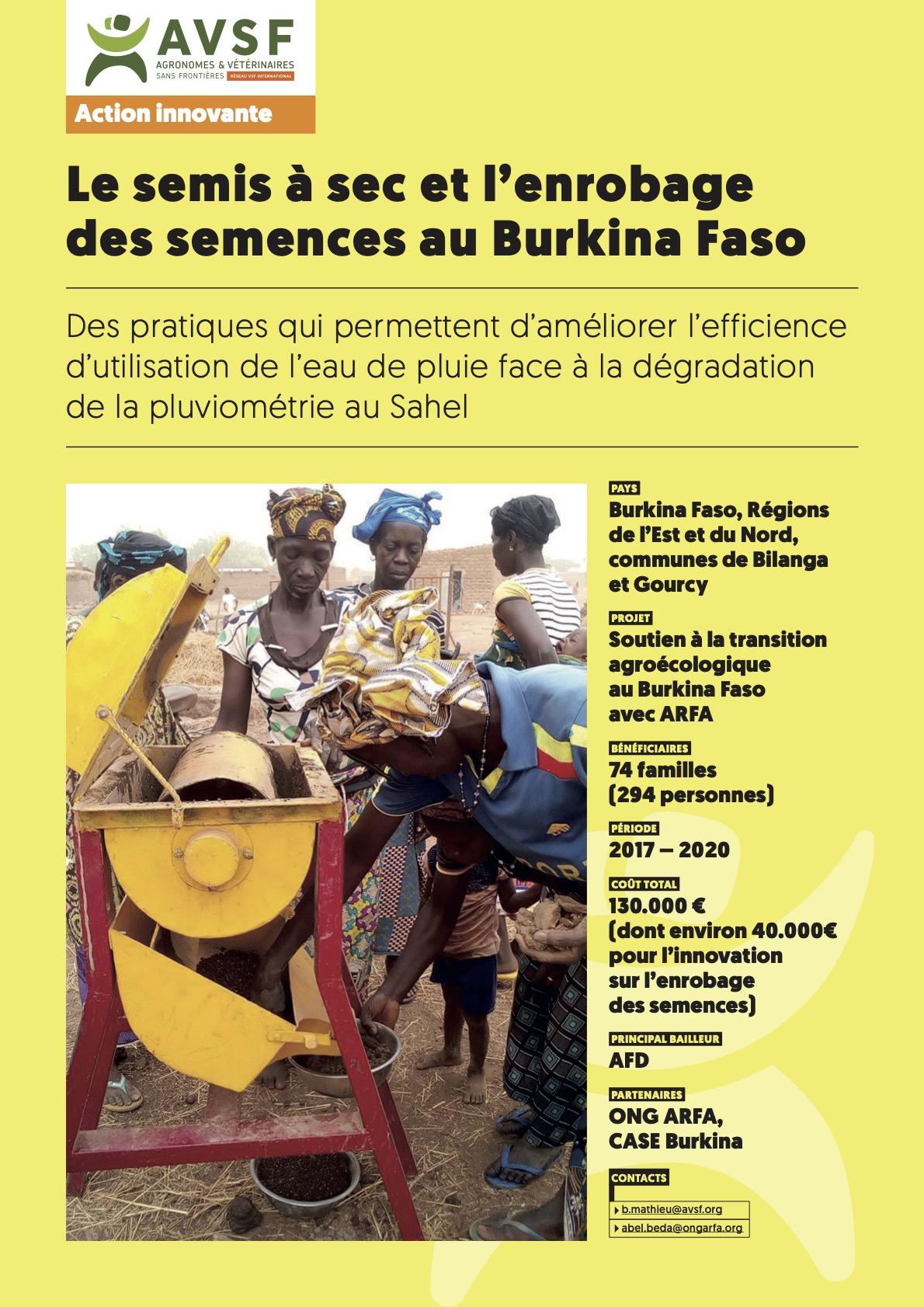 Les actions innovantes d'AVSF : Le semis à sec et l'enrobage des semences au Burkina Faso Image principale