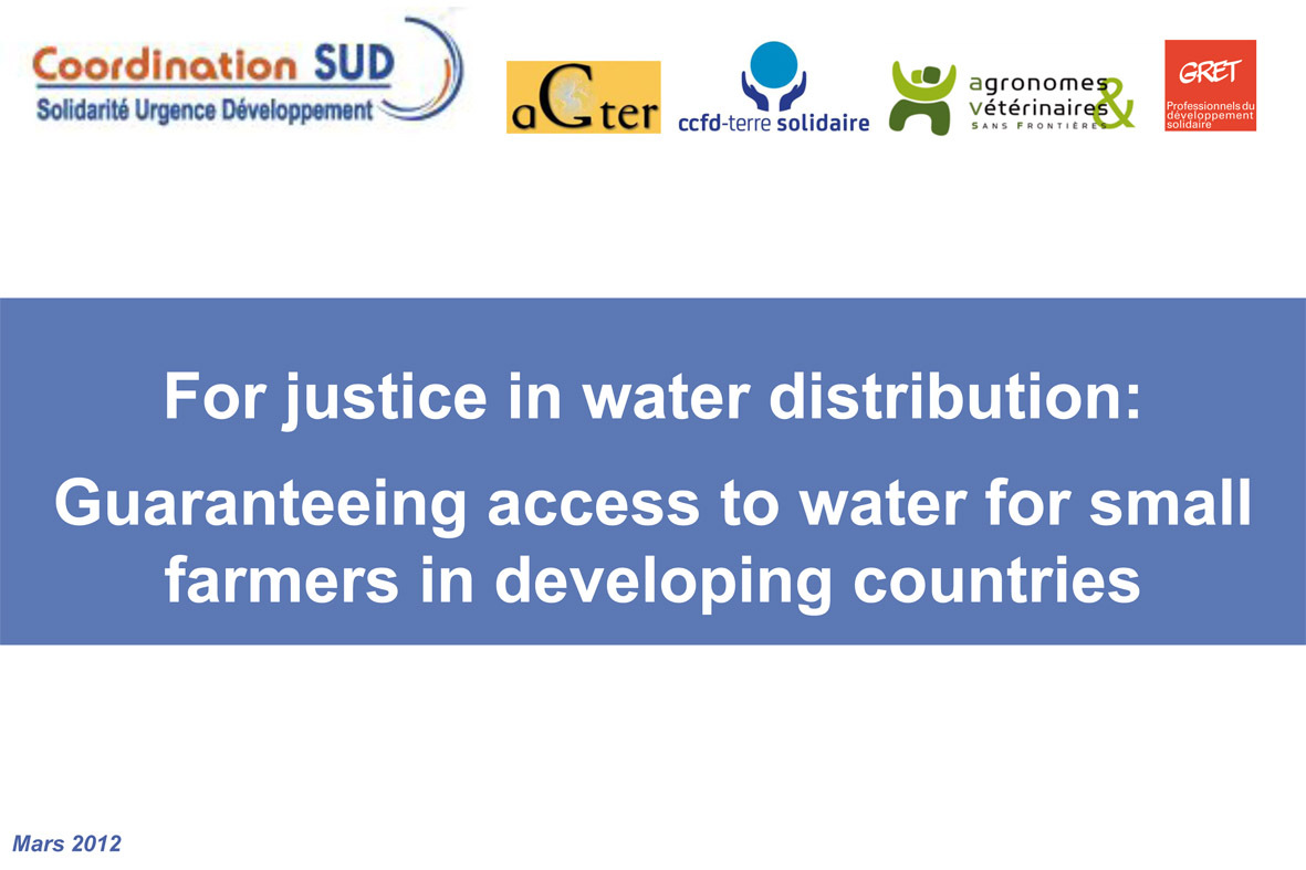 Thumbnail - Guaranteeing access to water for small farmers: powerpoint presentation