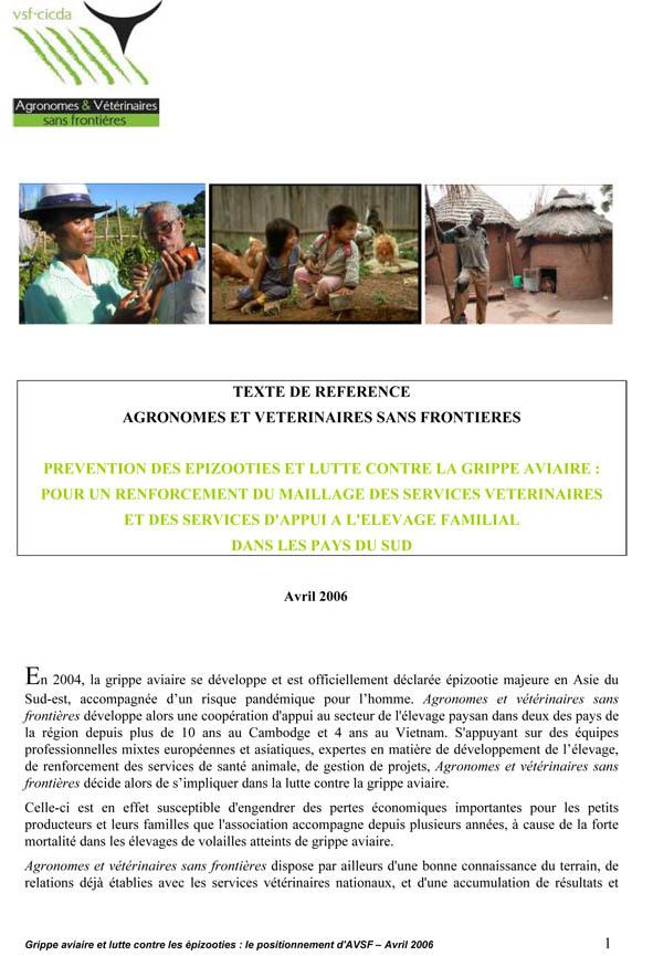 Thumbnail - Prévention des épizooties et lutte contre la grippe aviaire : pour un renforcement du maillage des services vétérinaires et des services d'appui à l'élevage familial dans les pays du Sud